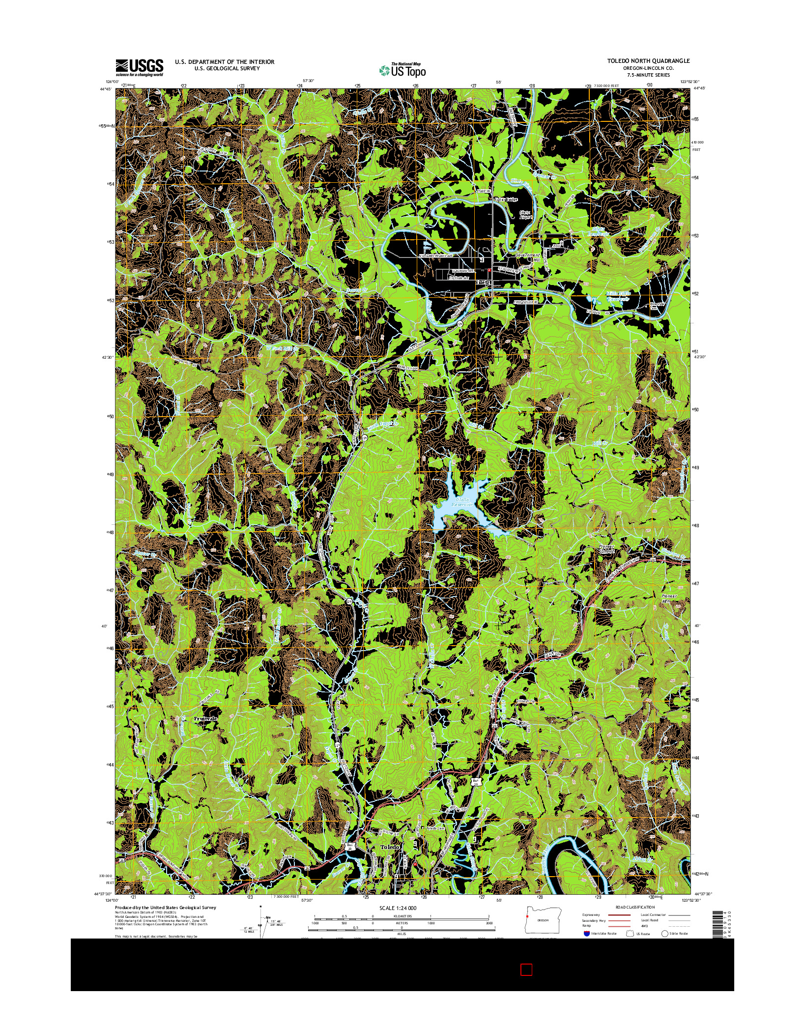 USGS US TOPO 7.5-MINUTE MAP FOR TOLEDO NORTH, OR 2014
