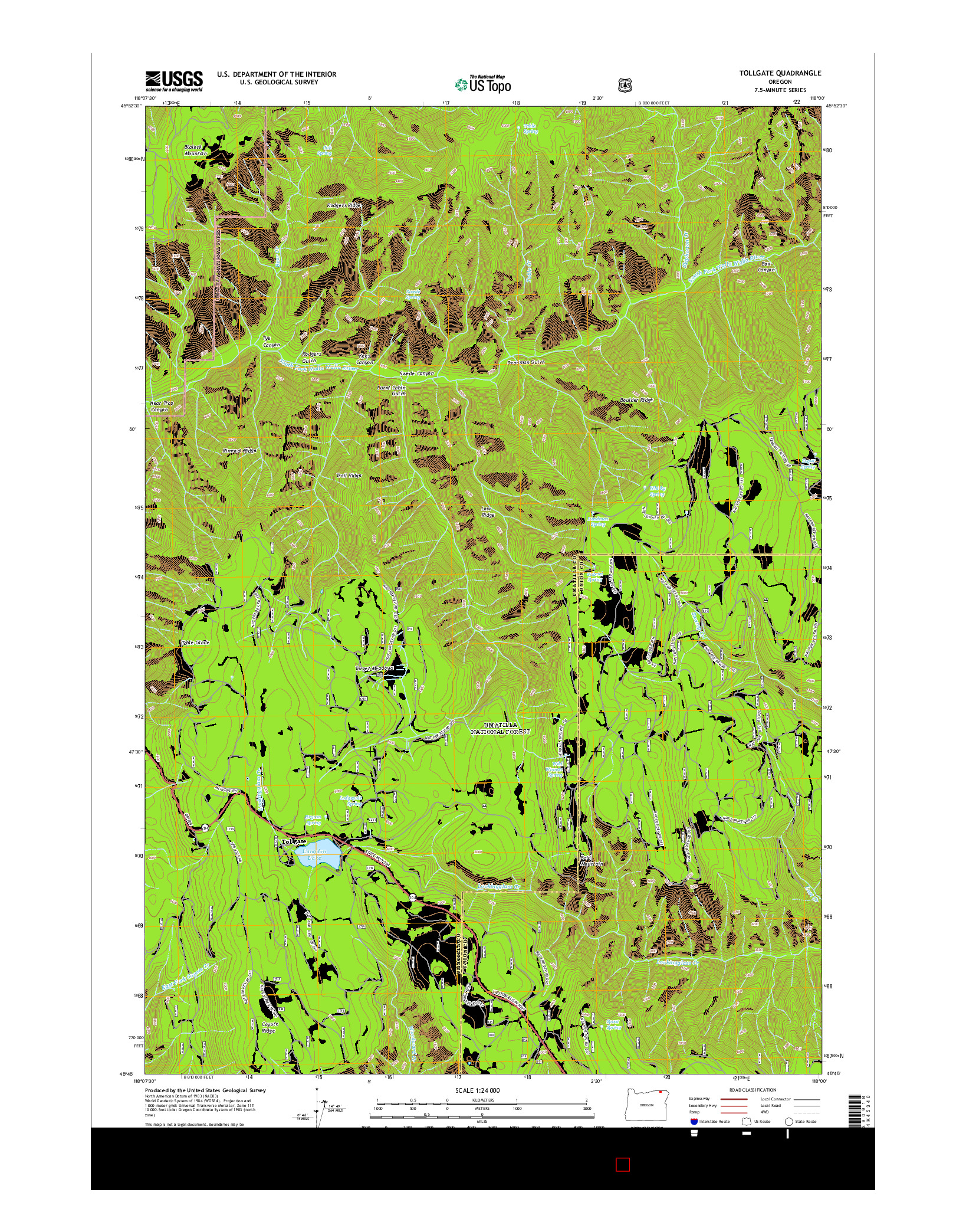 USGS US TOPO 7.5-MINUTE MAP FOR TOLLGATE, OR 2014