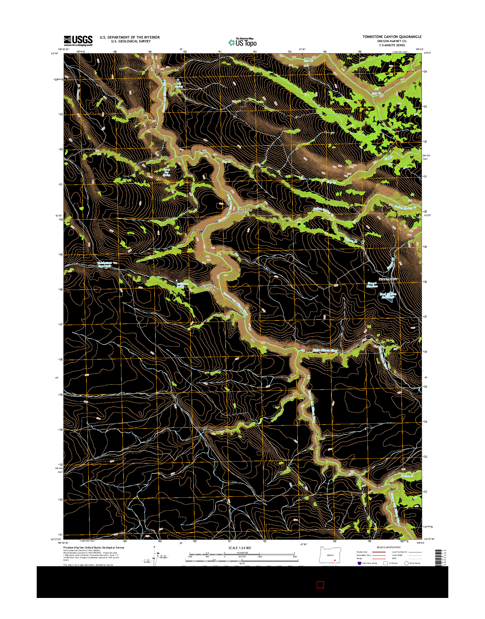 USGS US TOPO 7.5-MINUTE MAP FOR TOMBSTONE CANYON, OR 2014