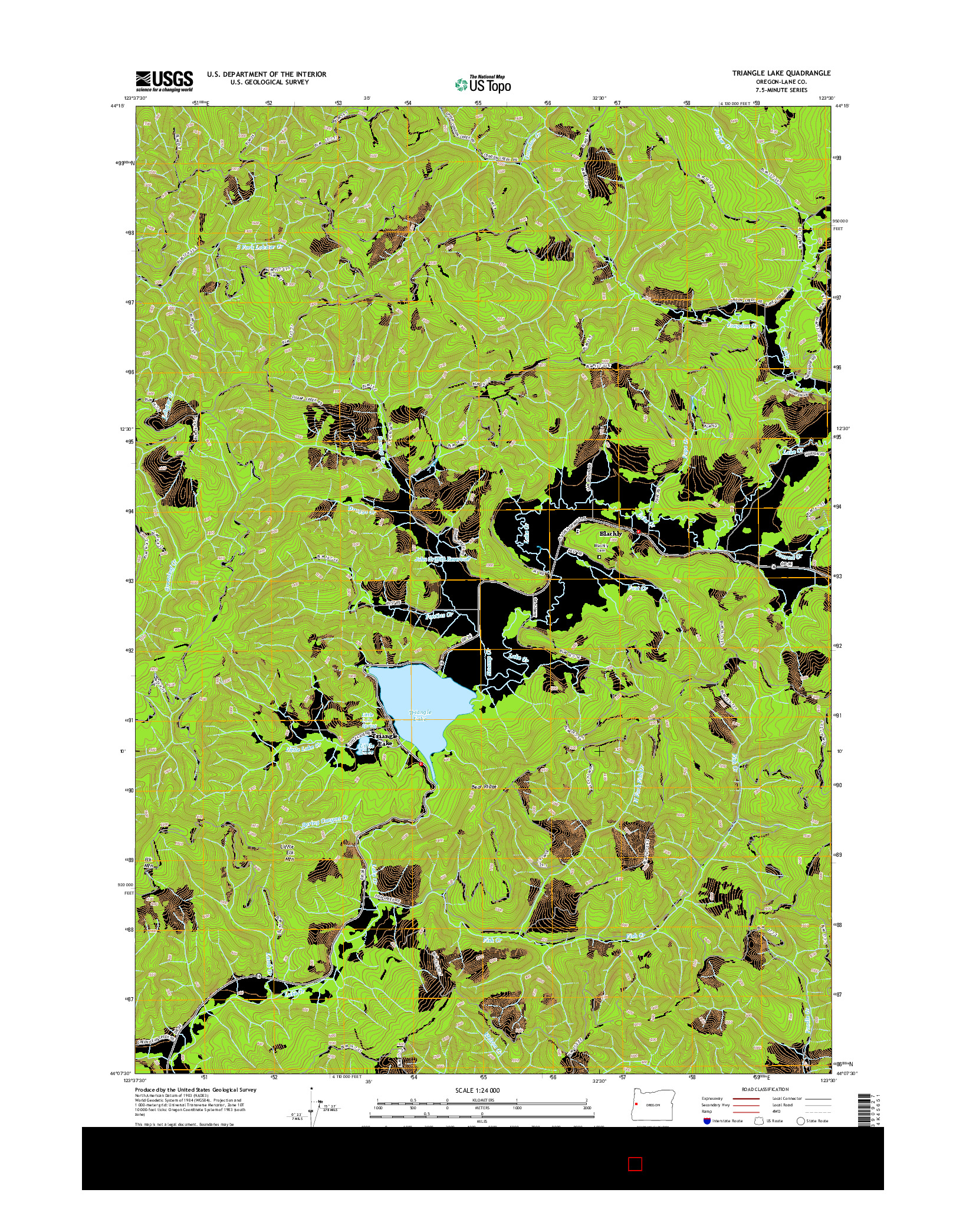 USGS US TOPO 7.5-MINUTE MAP FOR TRIANGLE LAKE, OR 2014