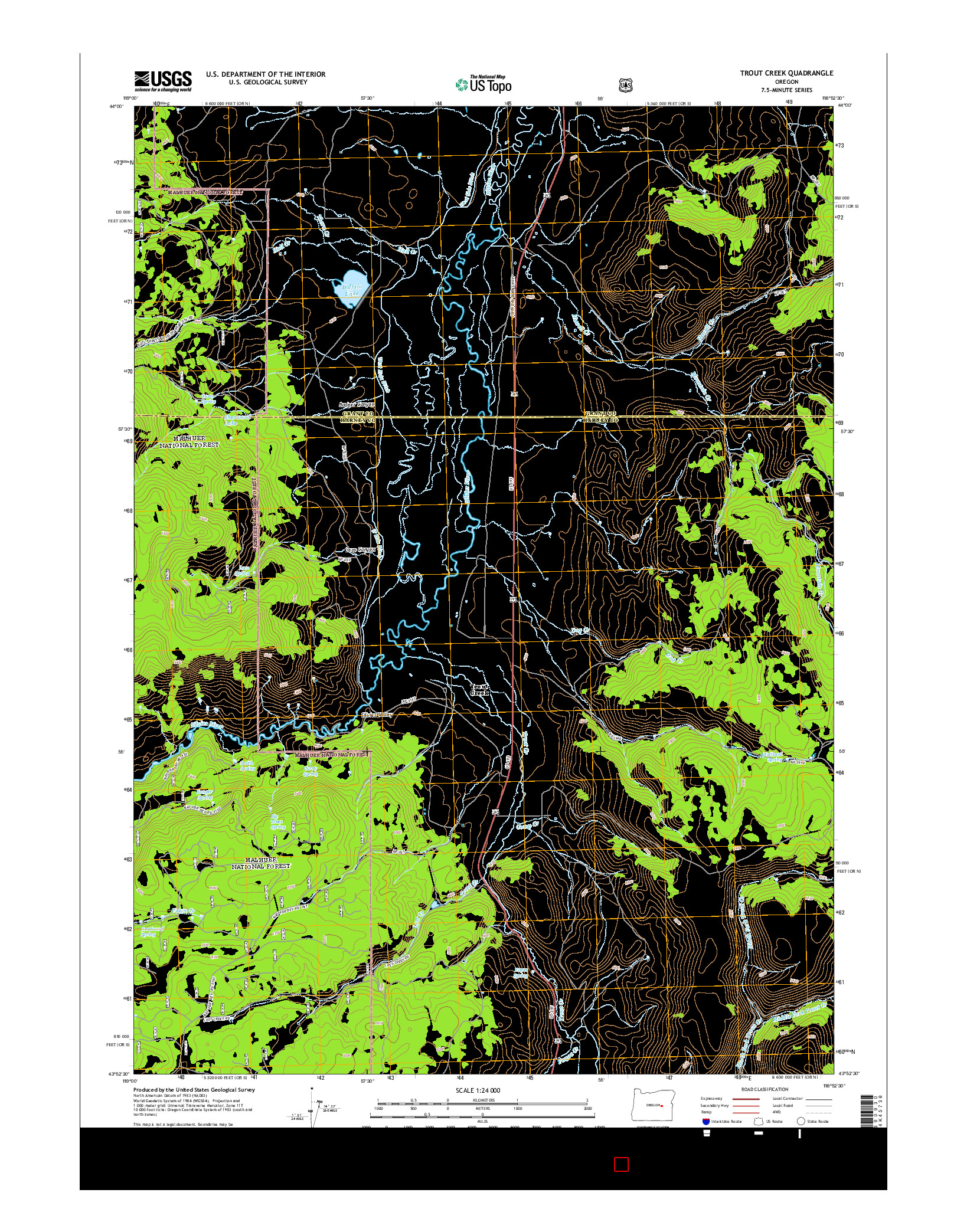 USGS US TOPO 7.5-MINUTE MAP FOR TROUT CREEK, OR 2014