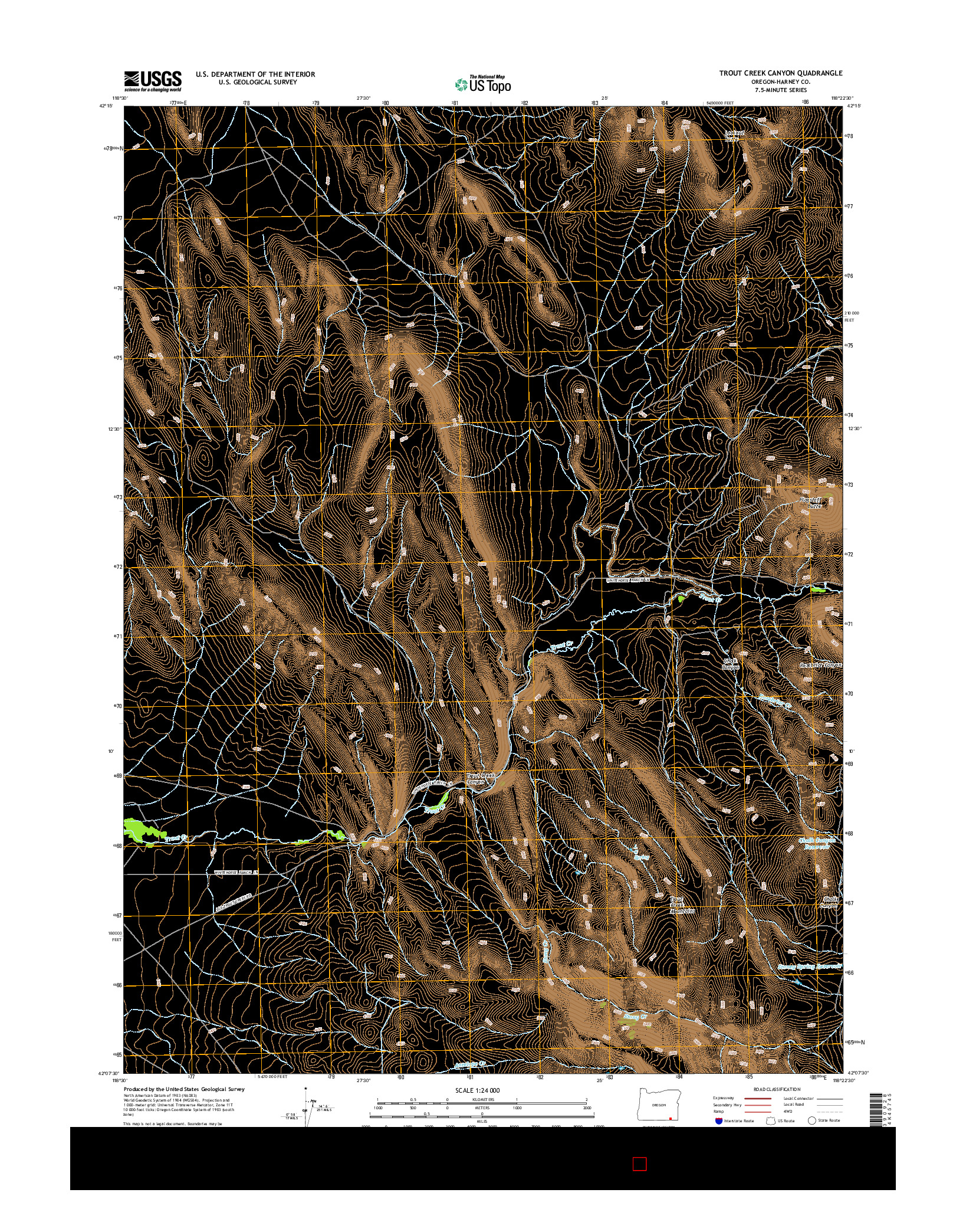USGS US TOPO 7.5-MINUTE MAP FOR TROUT CREEK CANYON, OR 2014