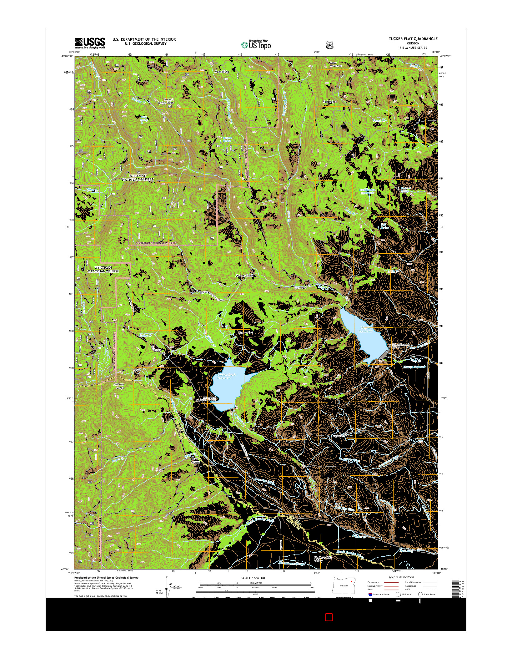 USGS US TOPO 7.5-MINUTE MAP FOR TUCKER FLAT, OR 2014