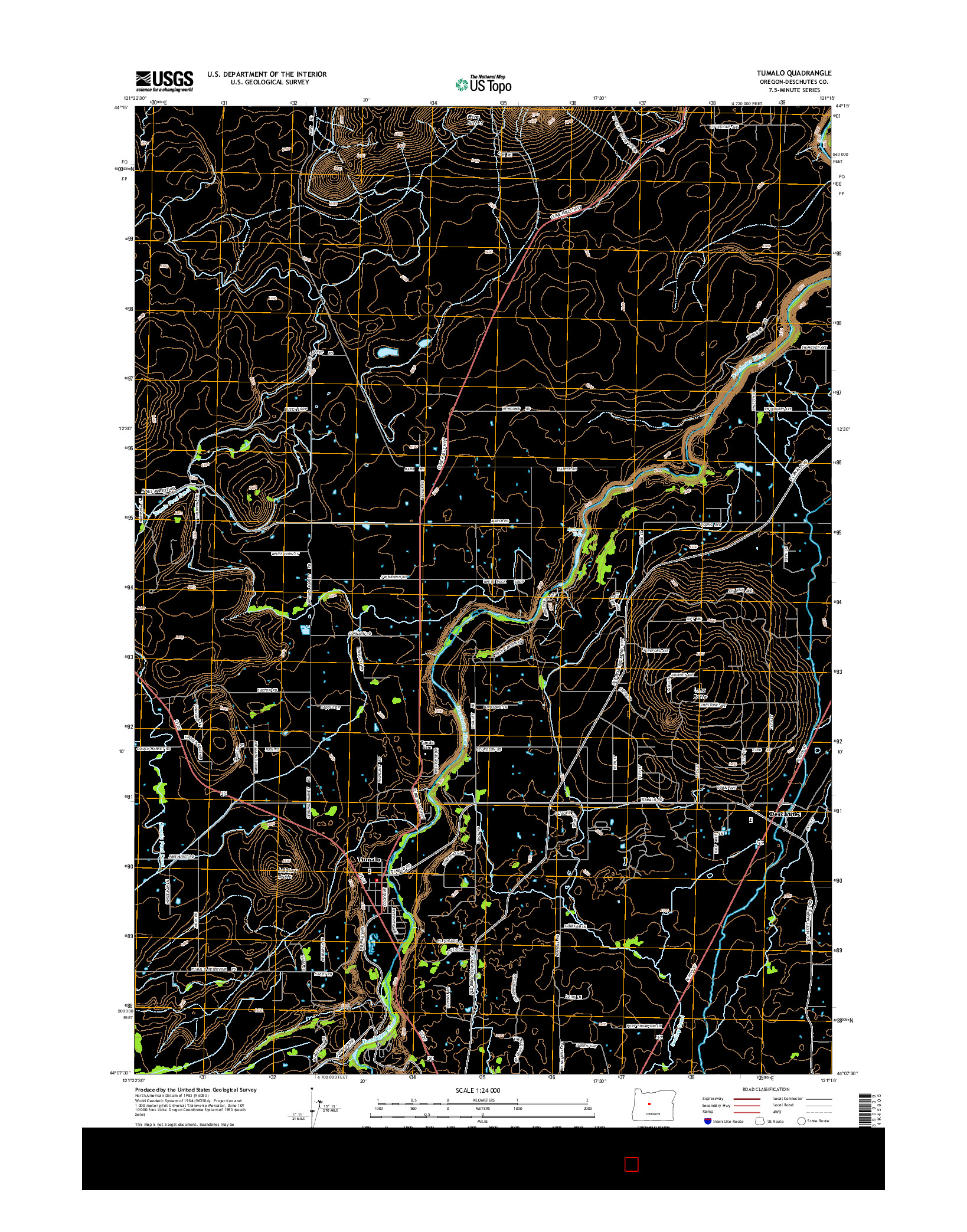 USGS US TOPO 7.5-MINUTE MAP FOR TUMALO, OR 2014