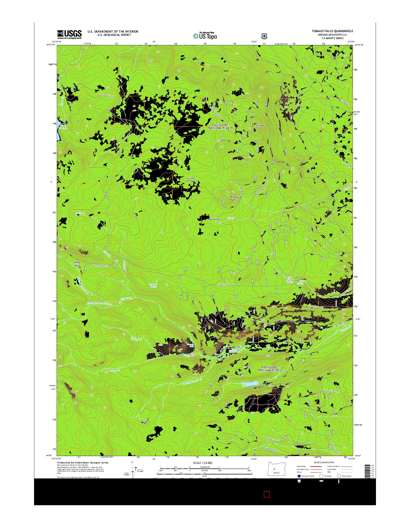USGS US TOPO 7.5-MINUTE MAP FOR TUMALO FALLS, OR 2014