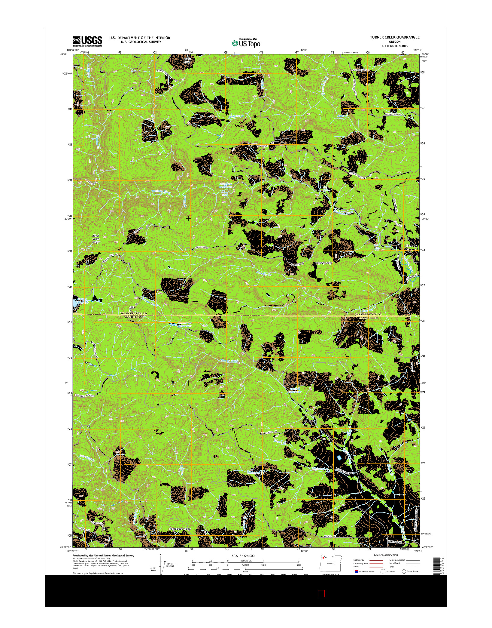 USGS US TOPO 7.5-MINUTE MAP FOR TURNER CREEK, OR 2014