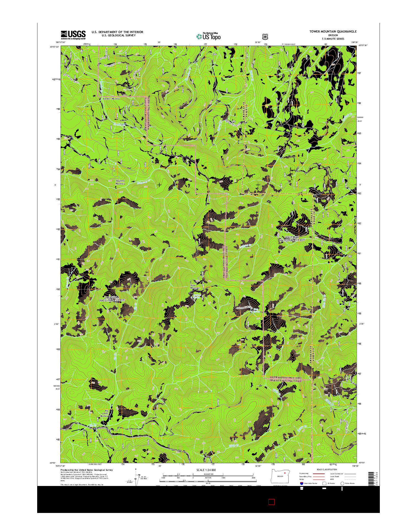USGS US TOPO 7.5-MINUTE MAP FOR TOWER MOUNTAIN, OR 2014