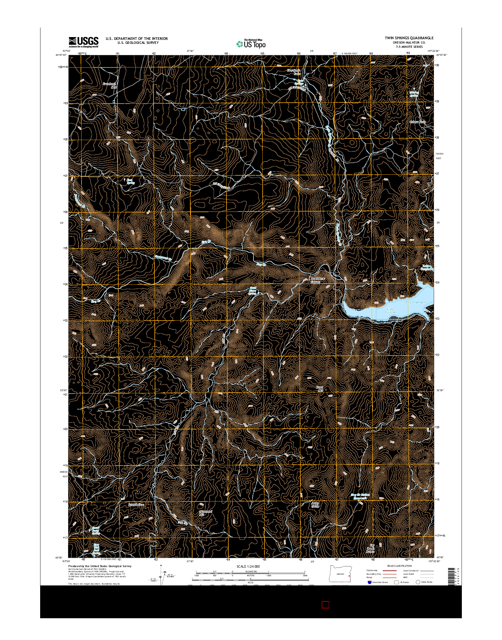 USGS US TOPO 7.5-MINUTE MAP FOR TWIN SPRINGS, OR 2014