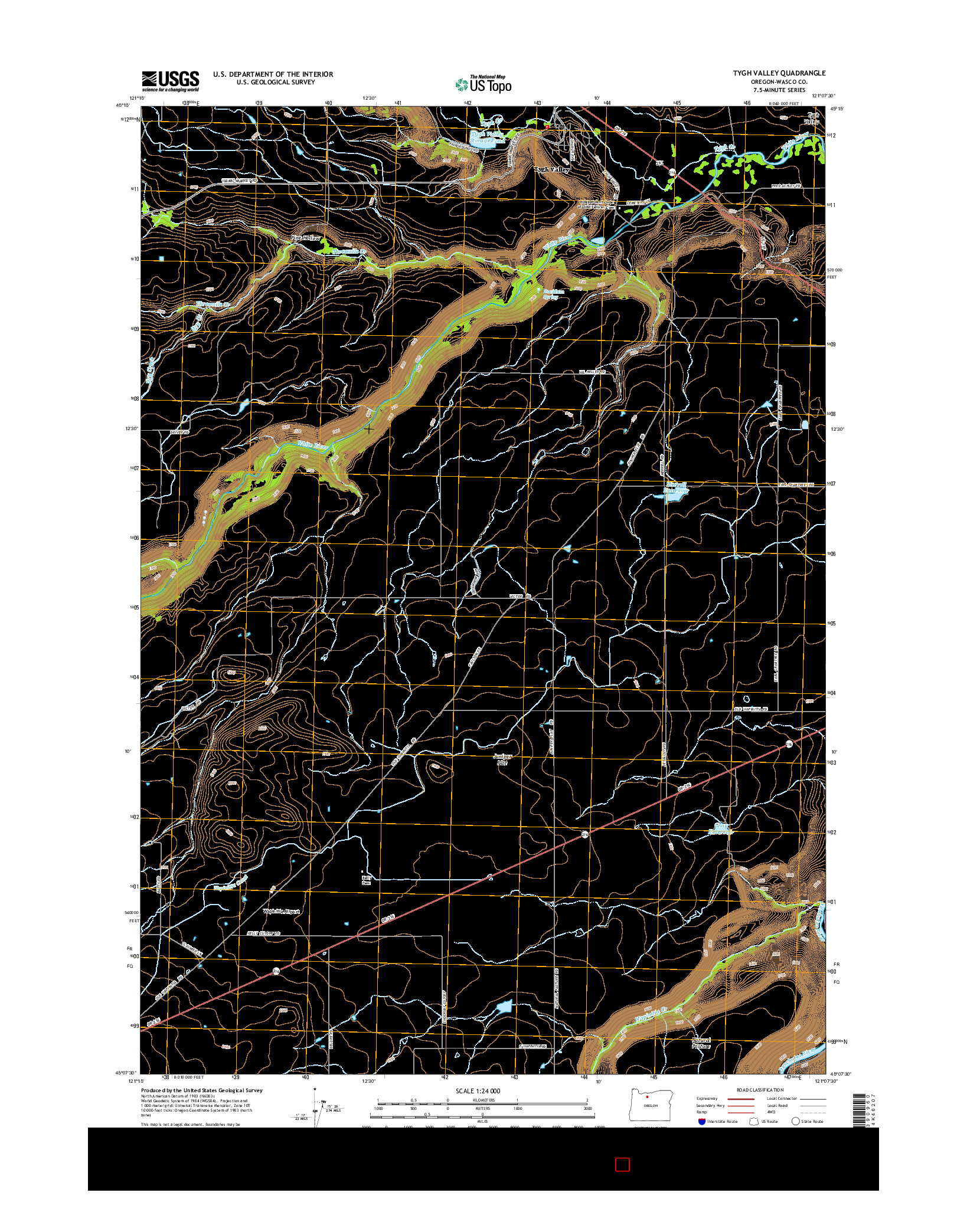 USGS US TOPO 7.5-MINUTE MAP FOR TYGH VALLEY, OR 2014