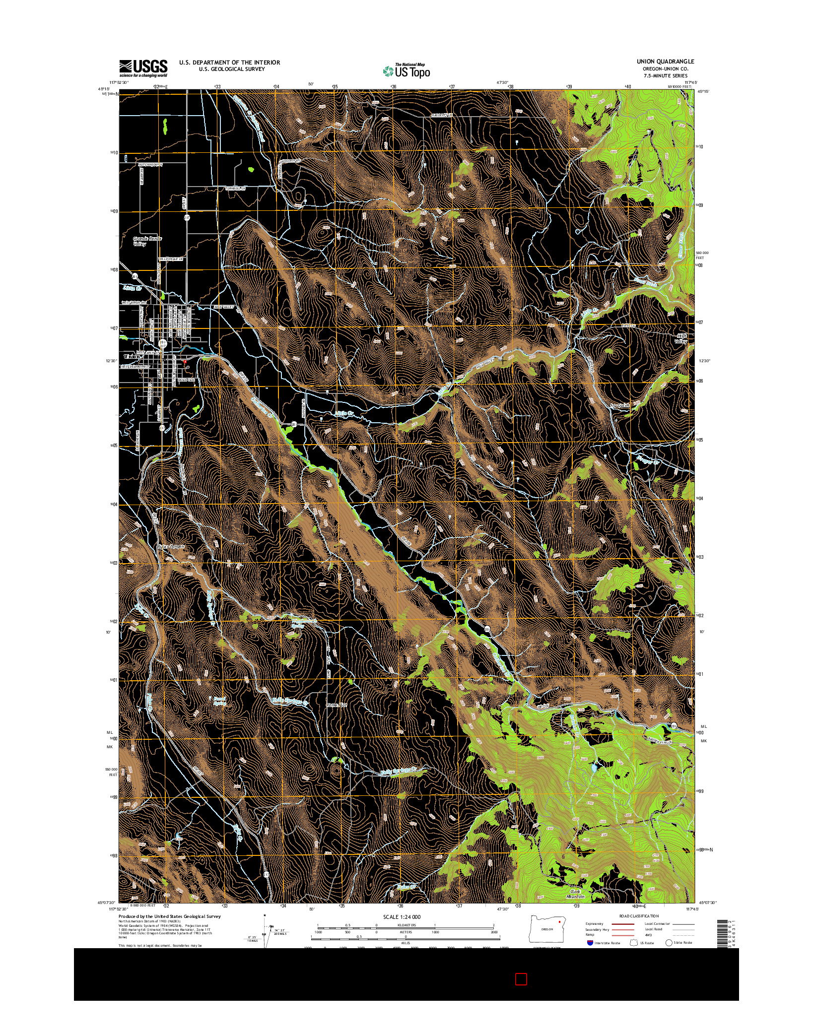 USGS US TOPO 7.5-MINUTE MAP FOR UNION, OR 2014