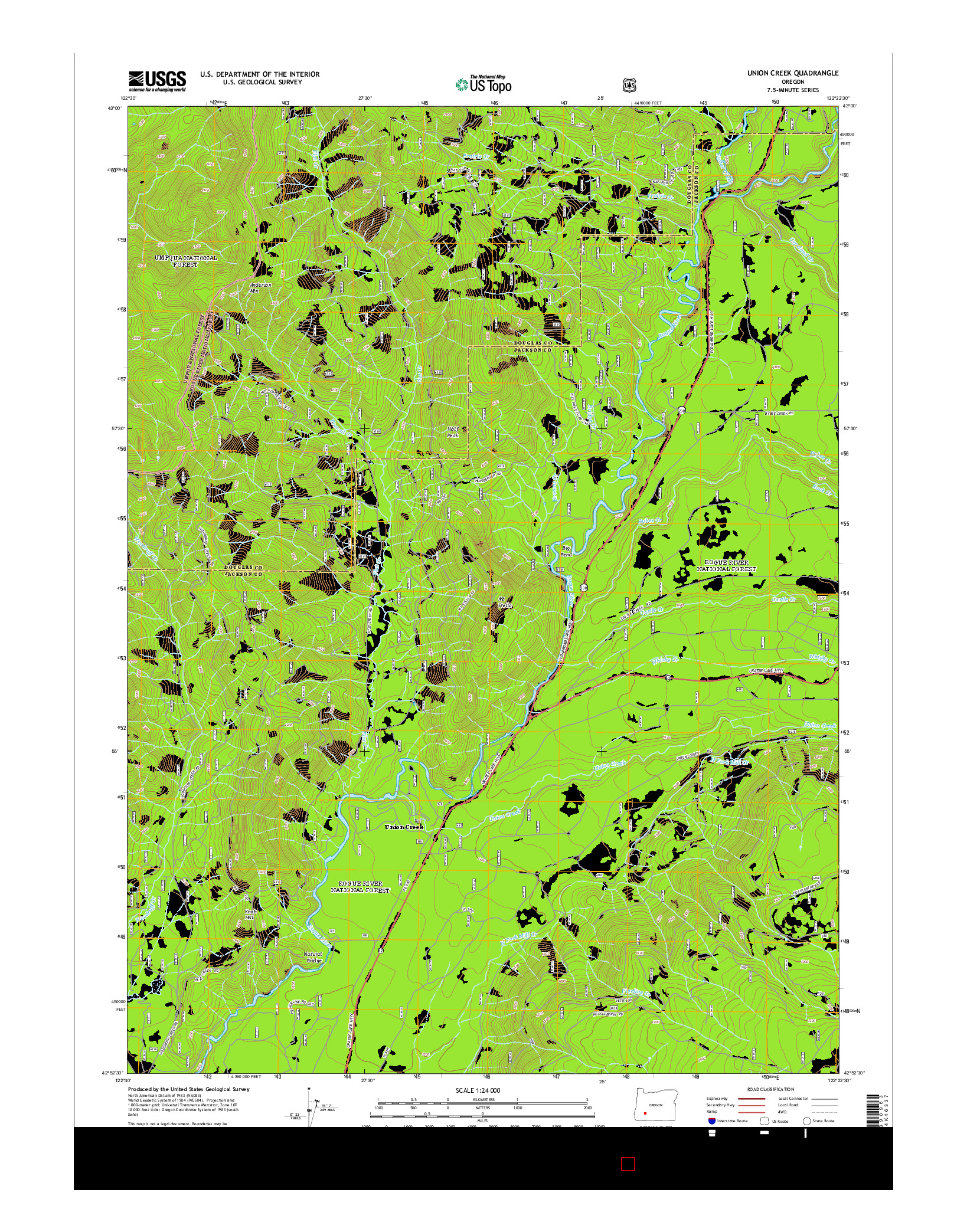 USGS US TOPO 7.5-MINUTE MAP FOR UNION CREEK, OR 2014