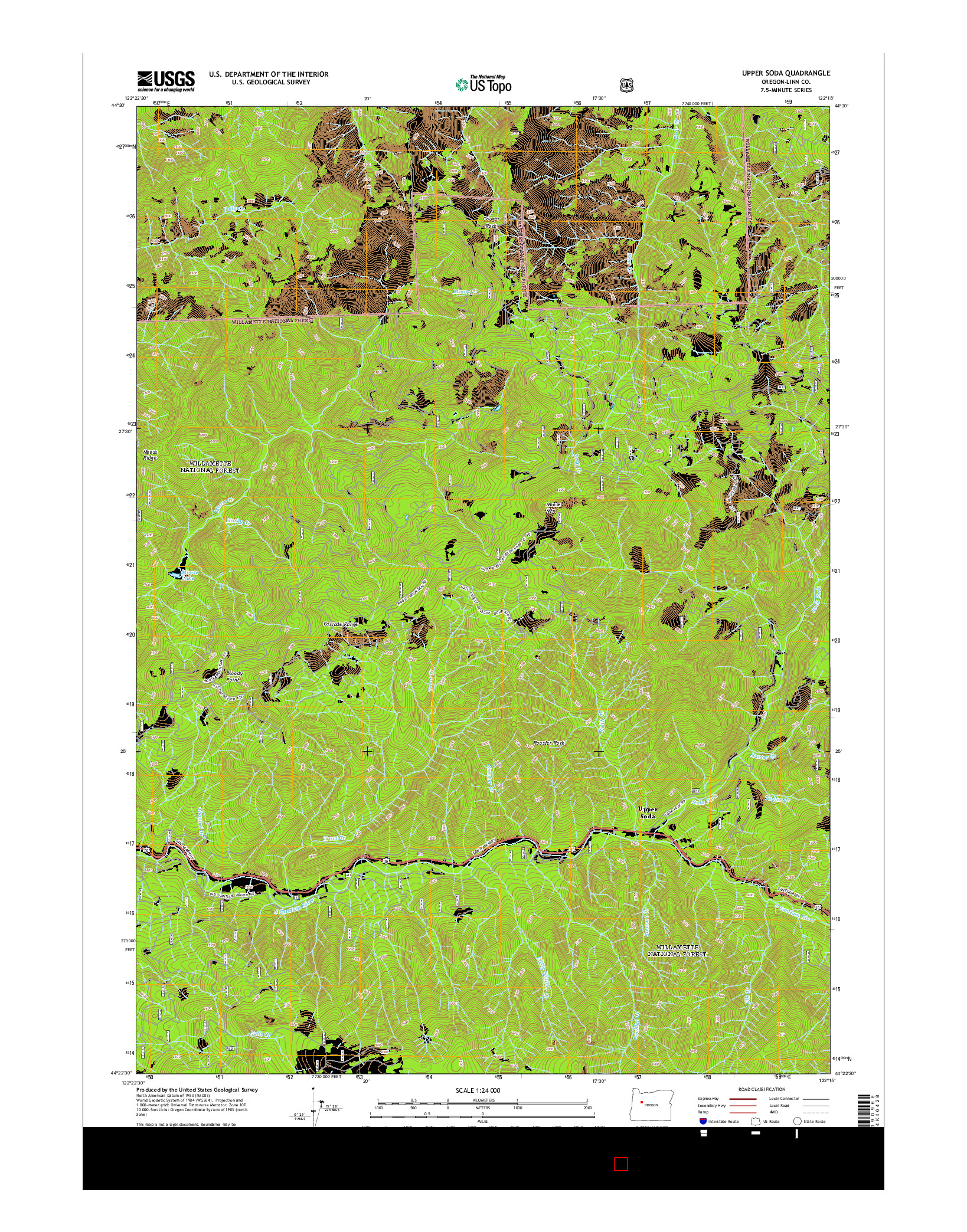 USGS US TOPO 7.5-MINUTE MAP FOR UPPER SODA, OR 2014