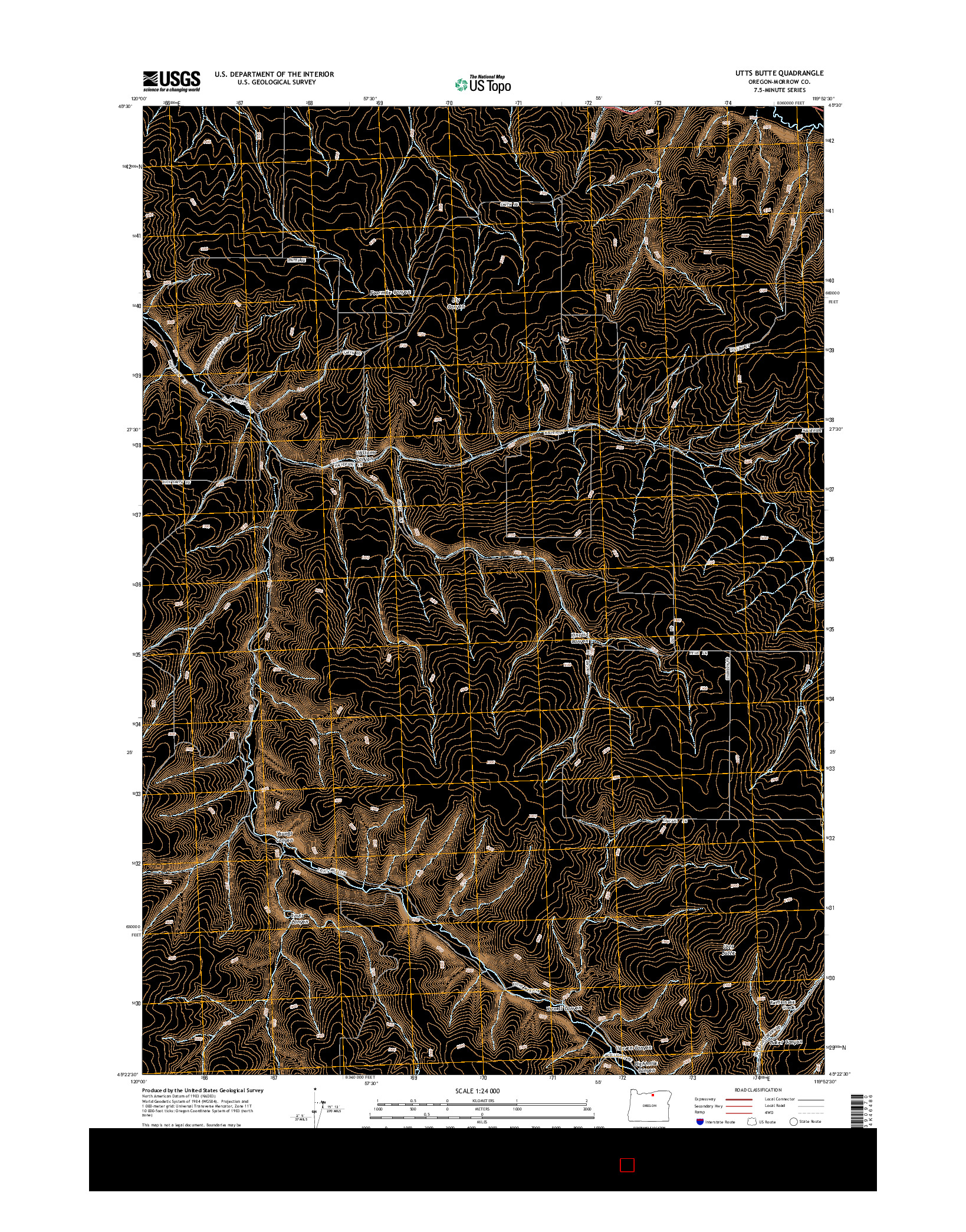 USGS US TOPO 7.5-MINUTE MAP FOR UTTS BUTTE, OR 2014