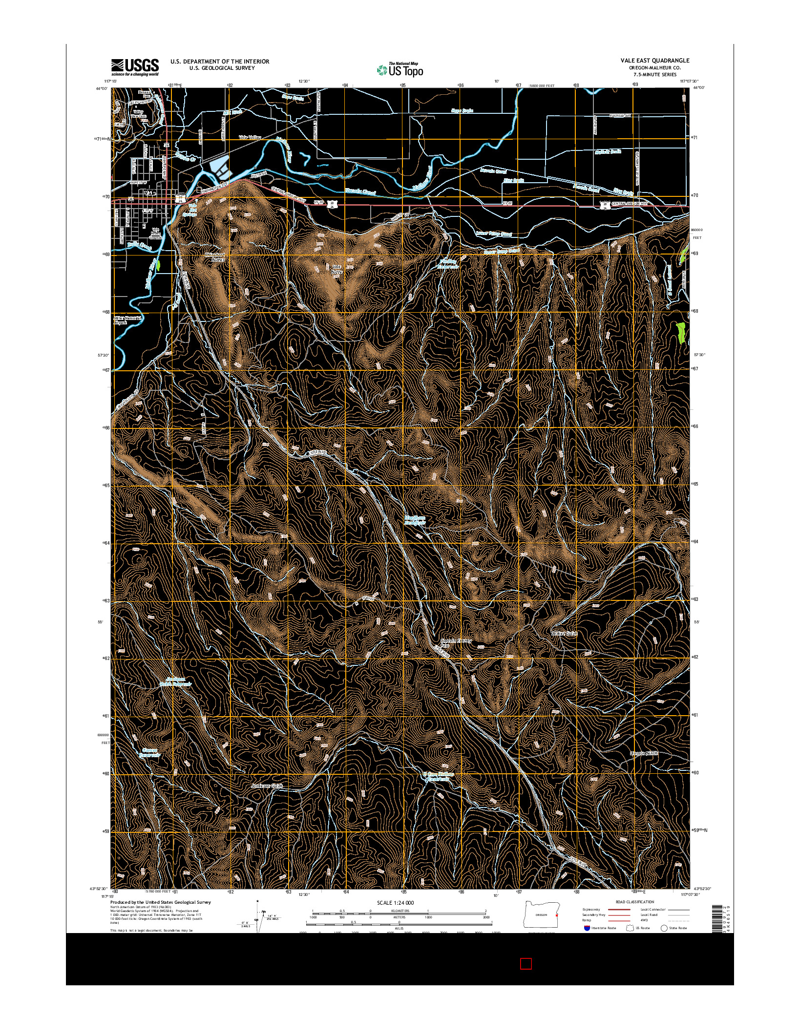 USGS US TOPO 7.5-MINUTE MAP FOR VALE EAST, OR 2014