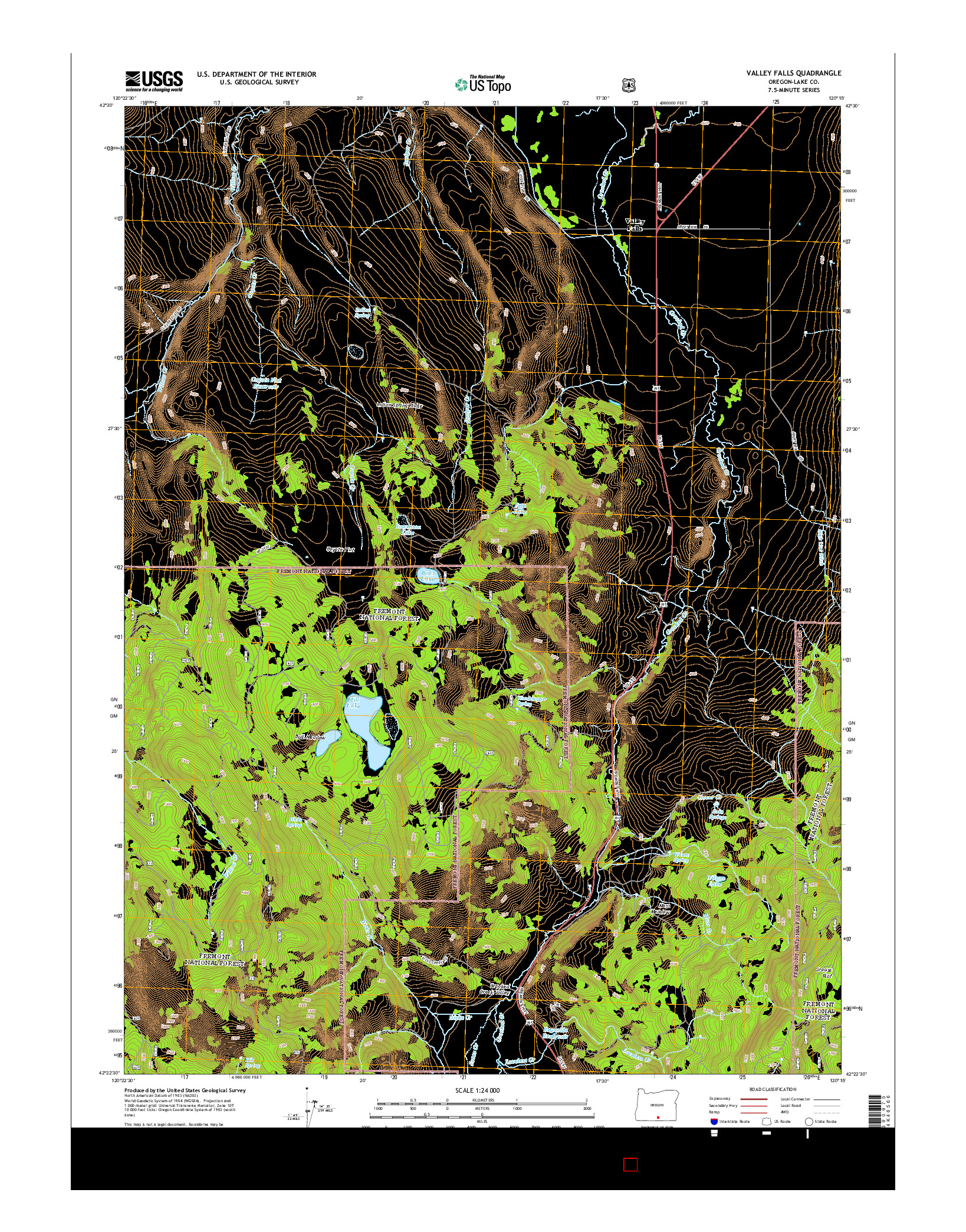 USGS US TOPO 7.5-MINUTE MAP FOR VALLEY FALLS, OR 2014