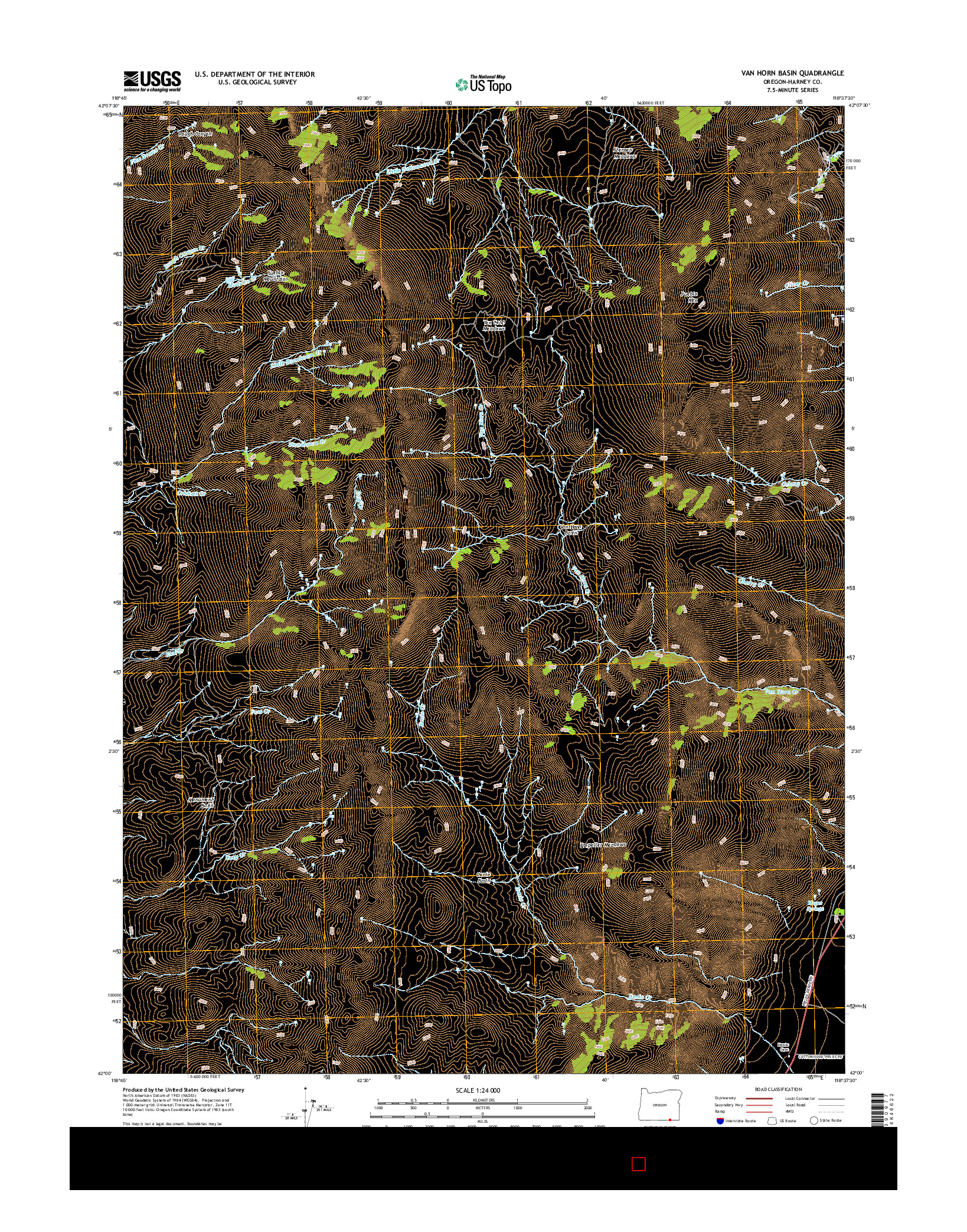 USGS US TOPO 7.5-MINUTE MAP FOR VAN HORN BASIN, OR 2014