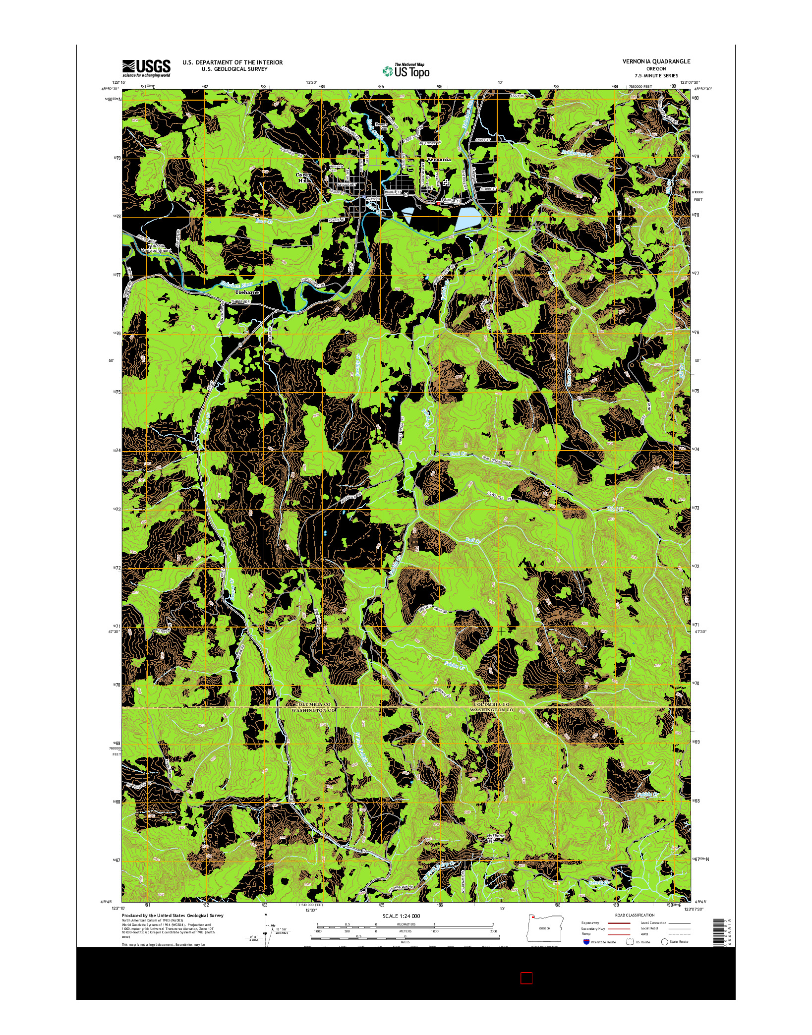 USGS US TOPO 7.5-MINUTE MAP FOR VERNONIA, OR 2014