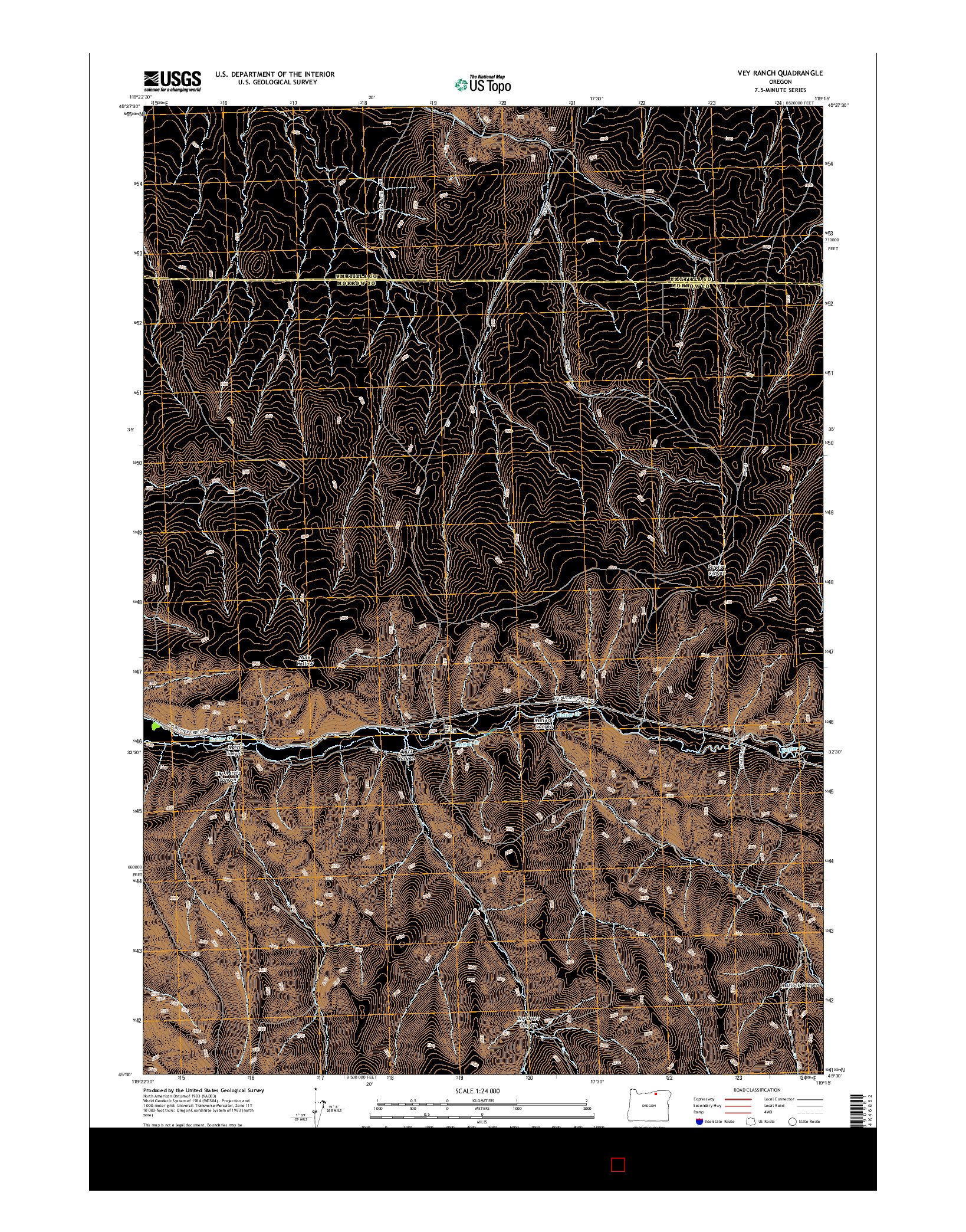 USGS US TOPO 7.5-MINUTE MAP FOR VEY RANCH, OR 2014