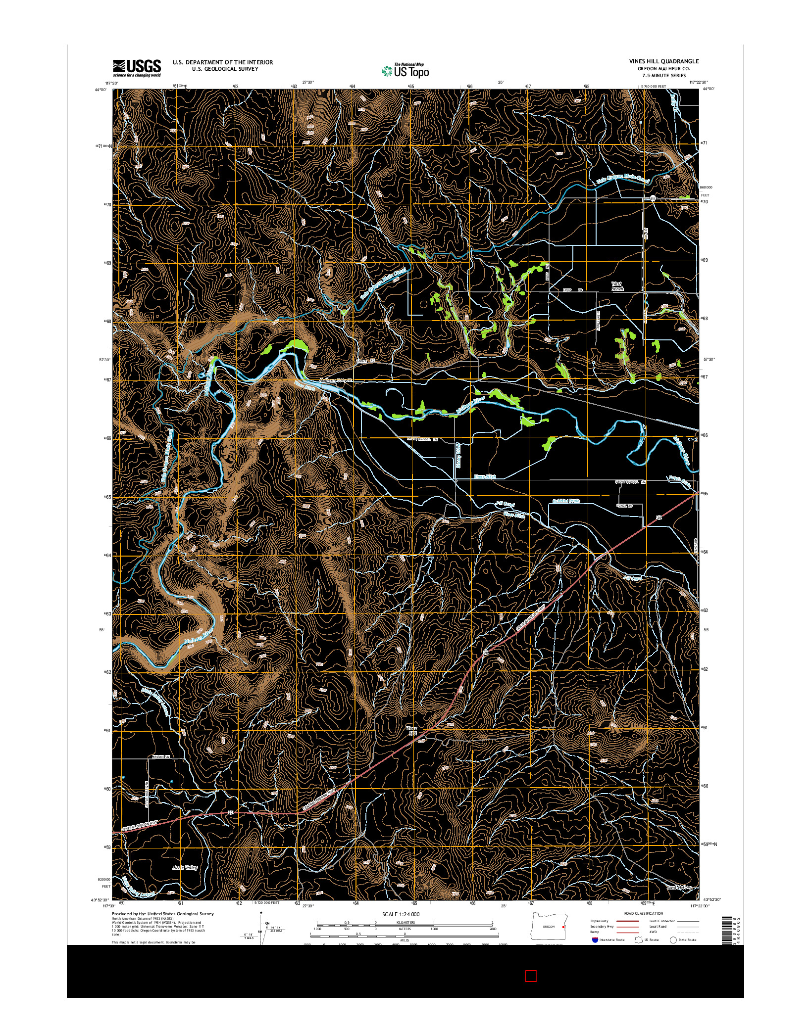 USGS US TOPO 7.5-MINUTE MAP FOR VINES HILL, OR 2014