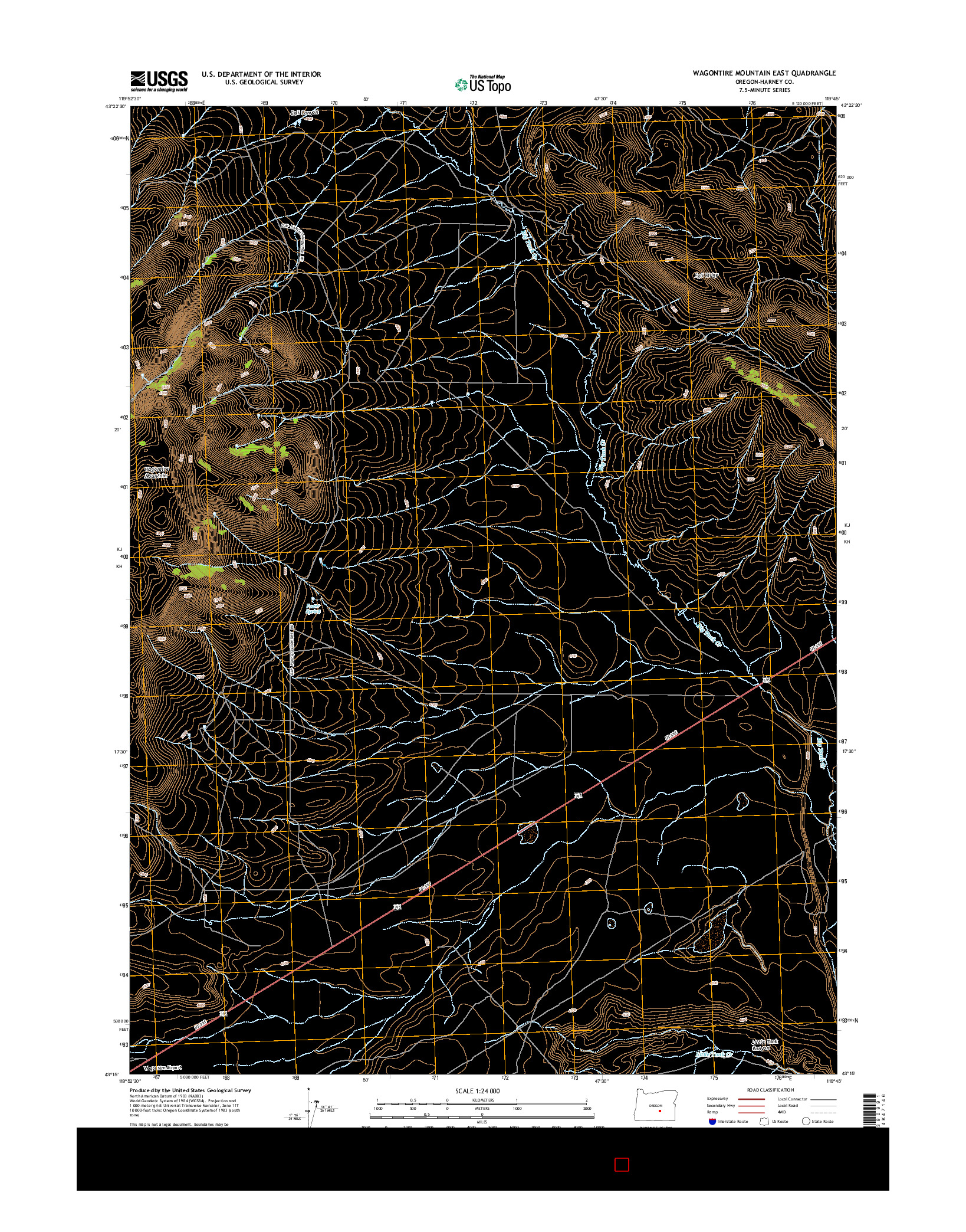 USGS US TOPO 7.5-MINUTE MAP FOR WAGONTIRE MOUNTAIN EAST, OR 2014
