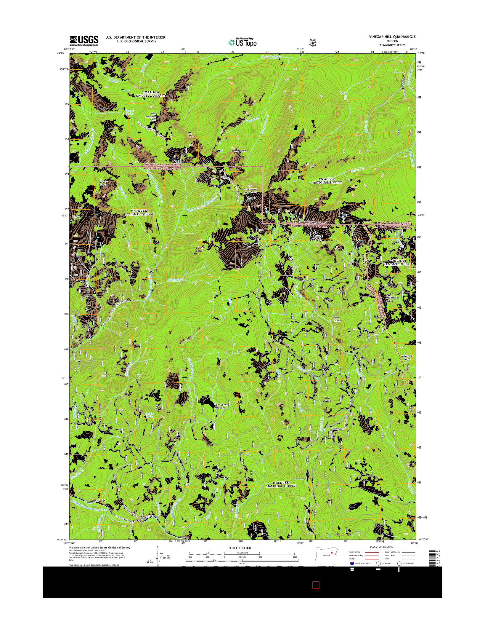 USGS US TOPO 7.5-MINUTE MAP FOR VINEGAR HILL, OR 2014