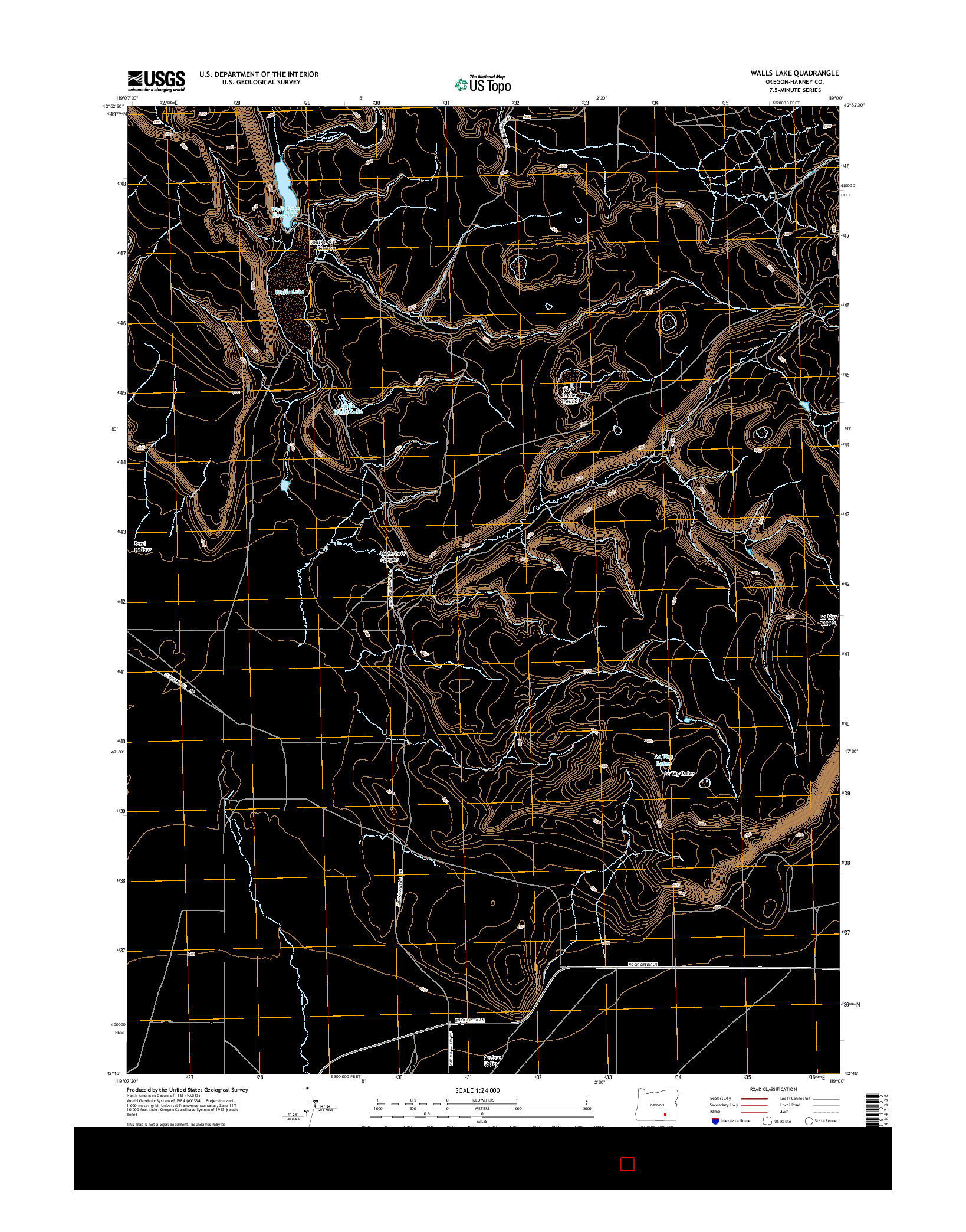 USGS US TOPO 7.5-MINUTE MAP FOR WALLS LAKE, OR 2014