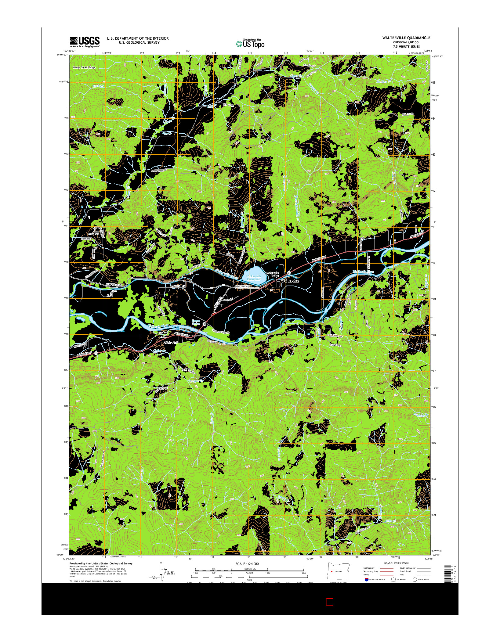 USGS US TOPO 7.5-MINUTE MAP FOR WALTERVILLE, OR 2014