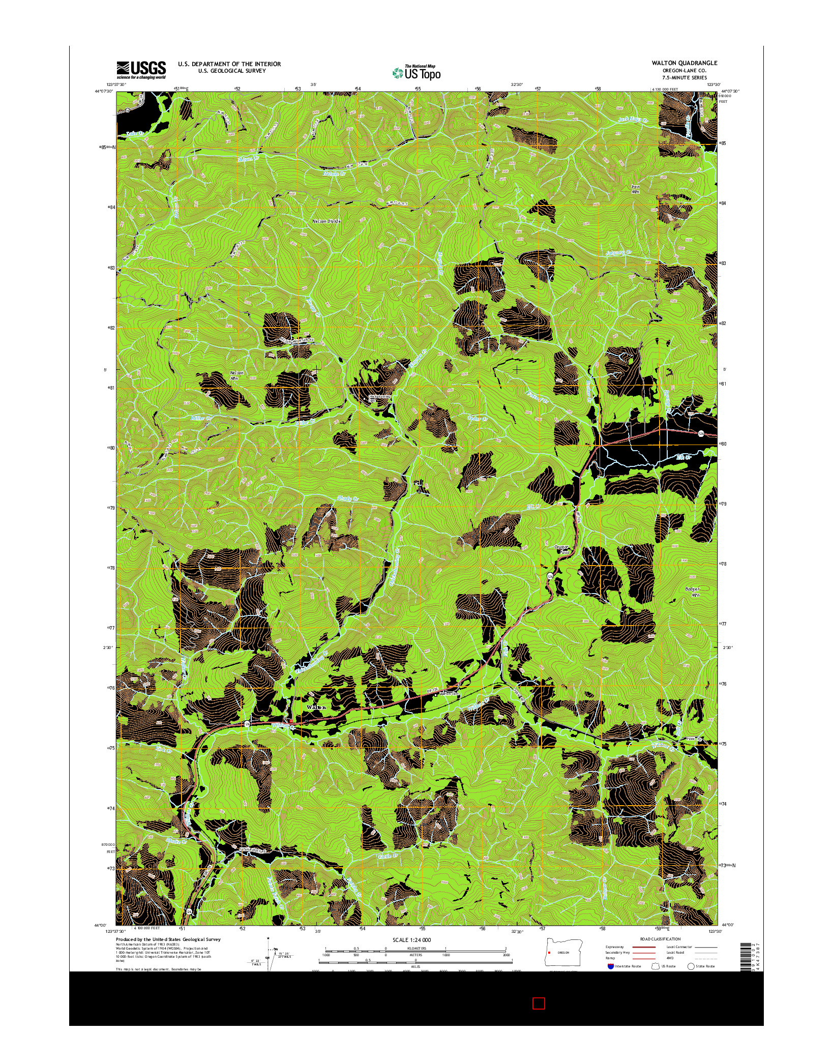 USGS US TOPO 7.5-MINUTE MAP FOR WALTON, OR 2014