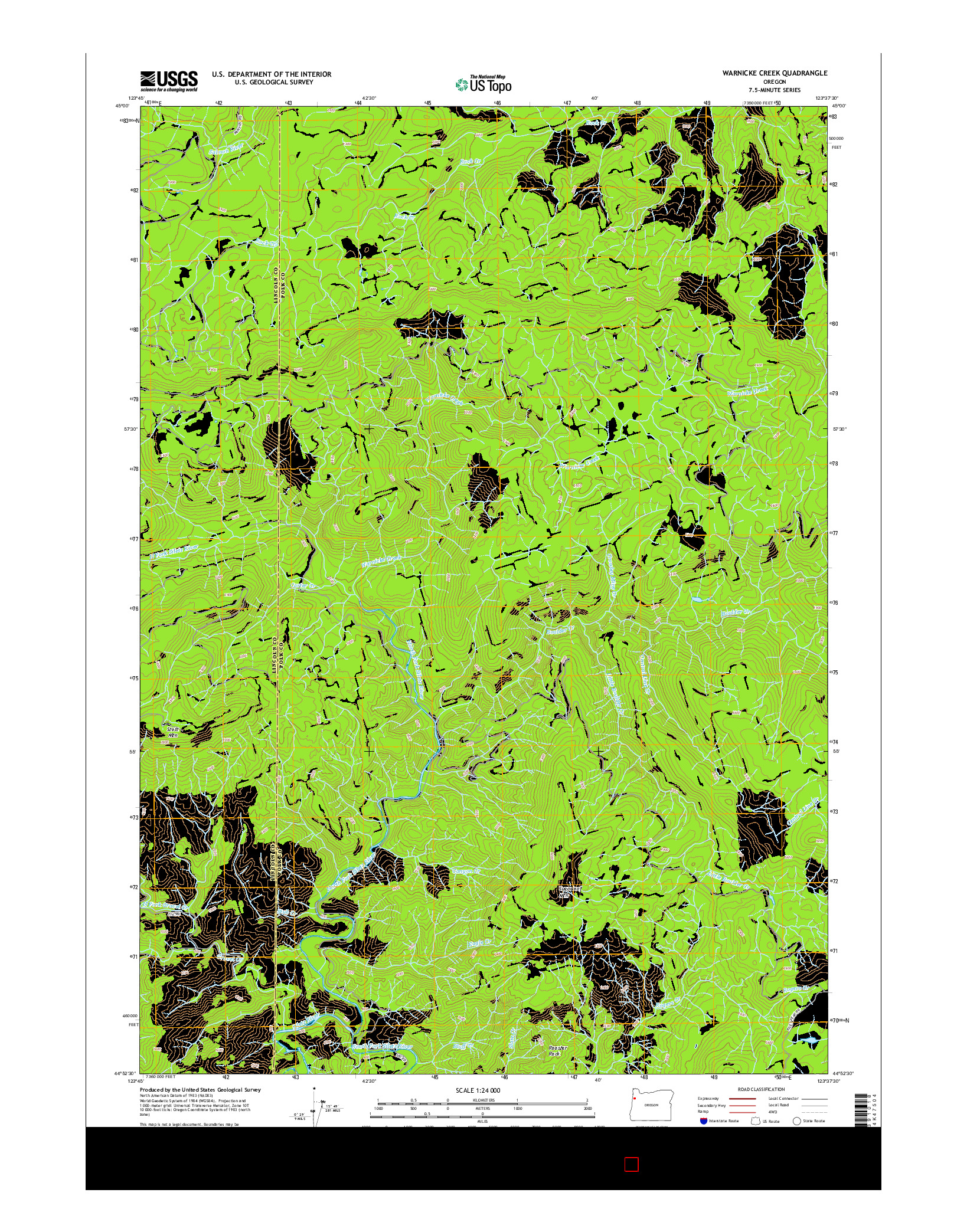 USGS US TOPO 7.5-MINUTE MAP FOR WARNICKE CREEK, OR 2014