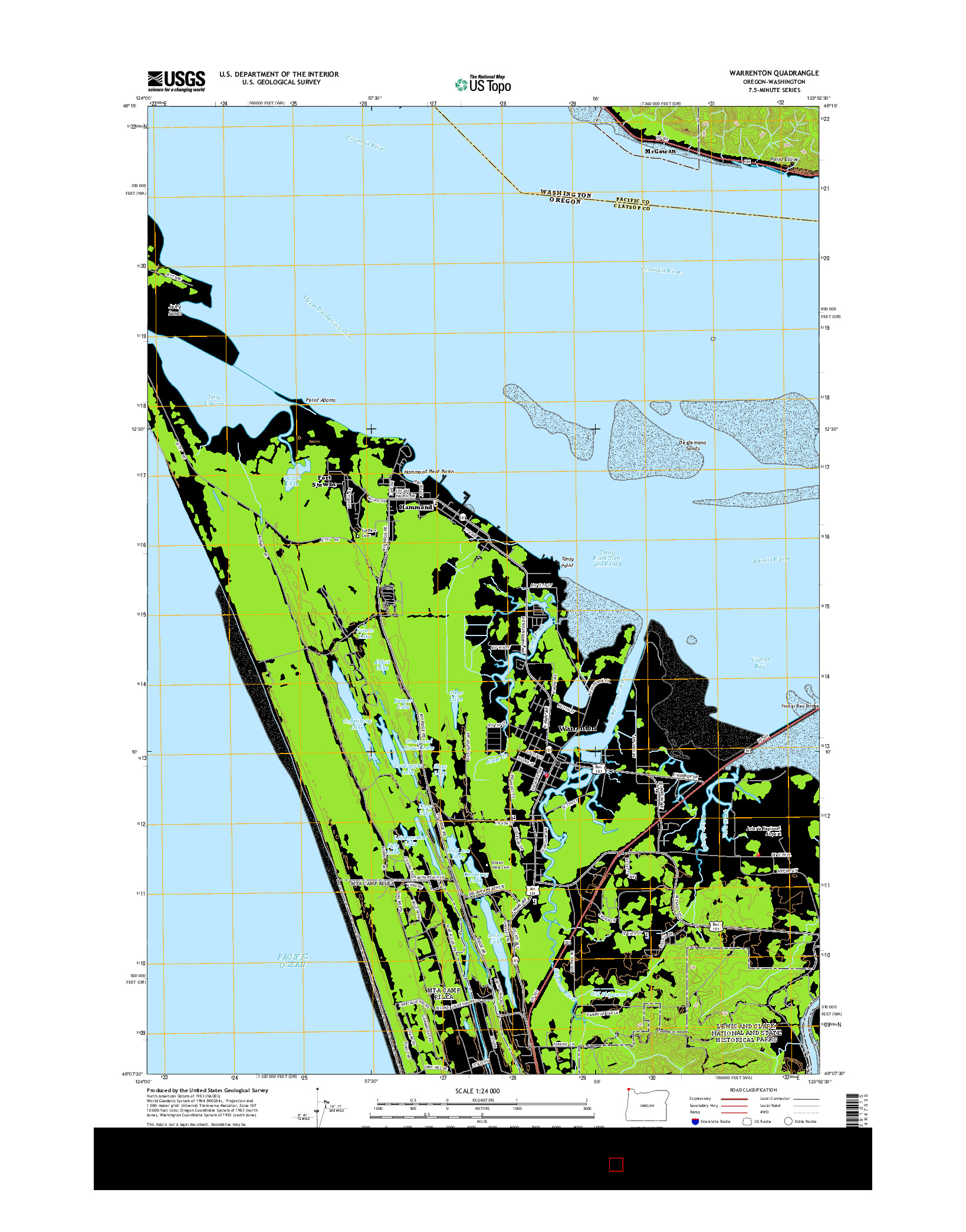 USGS US TOPO 7.5-MINUTE MAP FOR WARRENTON, OR-WA 2014