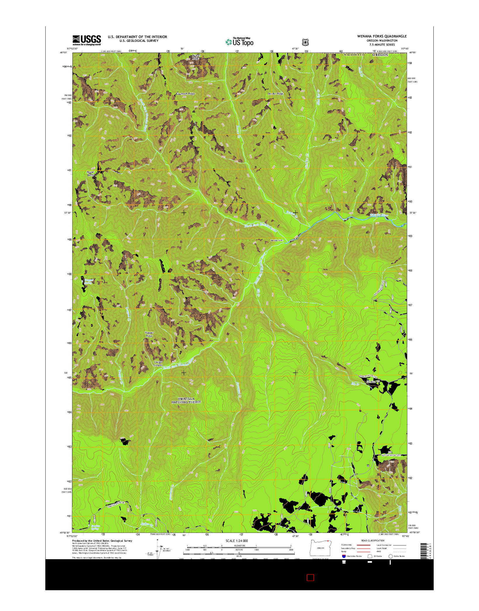 USGS US TOPO 7.5-MINUTE MAP FOR WENAHA FORKS, OR-WA 2014