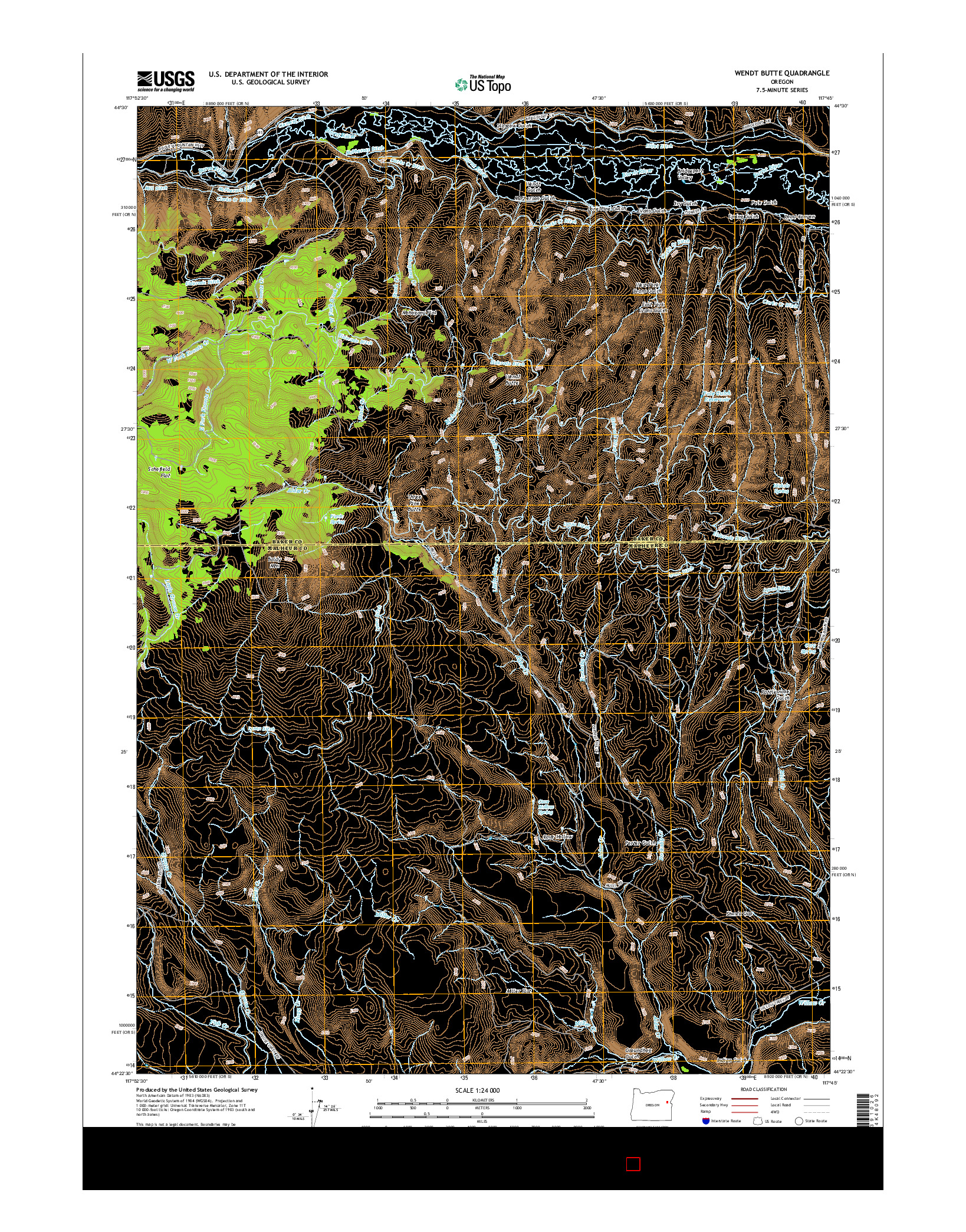 USGS US TOPO 7.5-MINUTE MAP FOR WENDT BUTTE, OR 2014