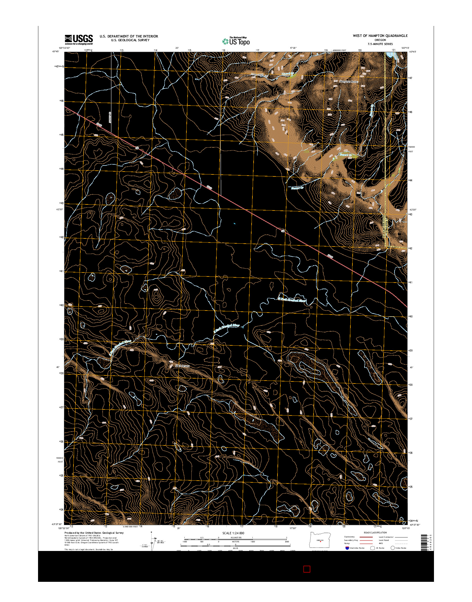 USGS US TOPO 7.5-MINUTE MAP FOR WEST OF HAMPTON, OR 2014