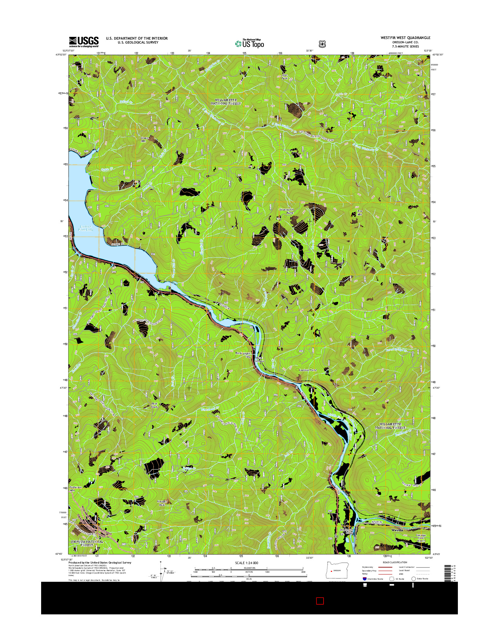 USGS US TOPO 7.5-MINUTE MAP FOR WESTFIR WEST, OR 2014