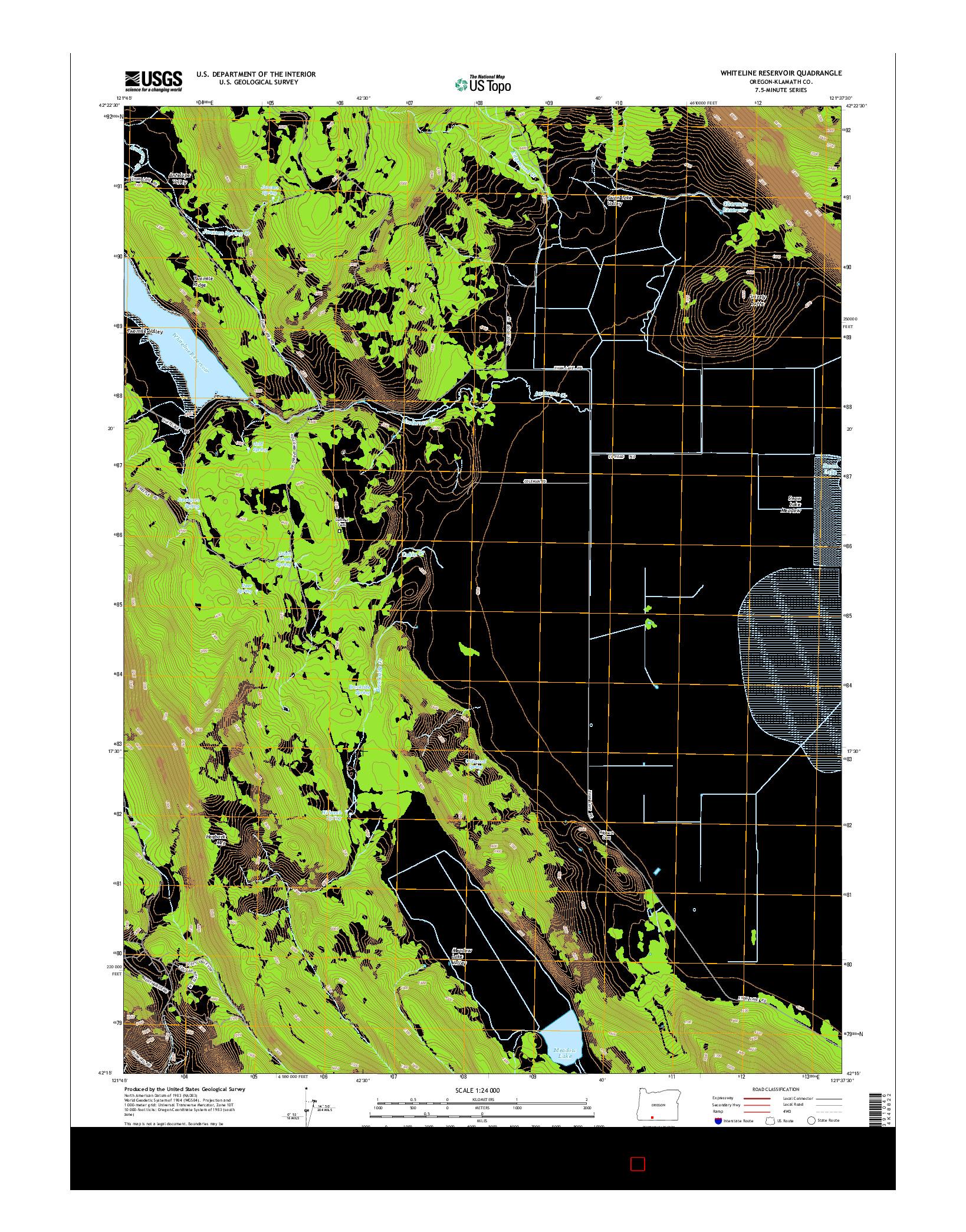 USGS US TOPO 7.5-MINUTE MAP FOR WHITELINE RESERVOIR, OR 2014