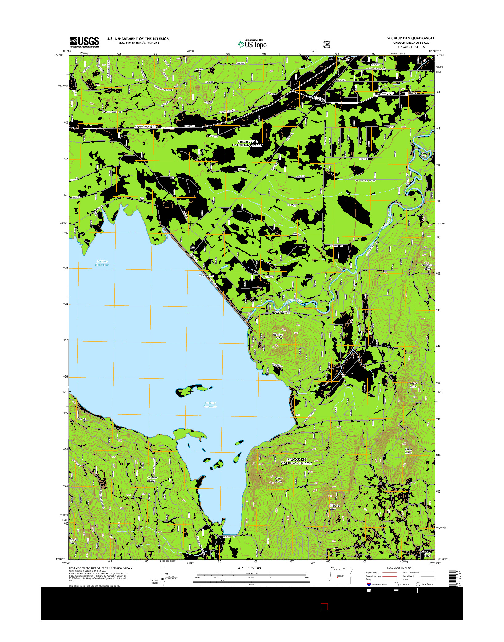 USGS US TOPO 7.5-MINUTE MAP FOR WICKIUP DAM, OR 2014