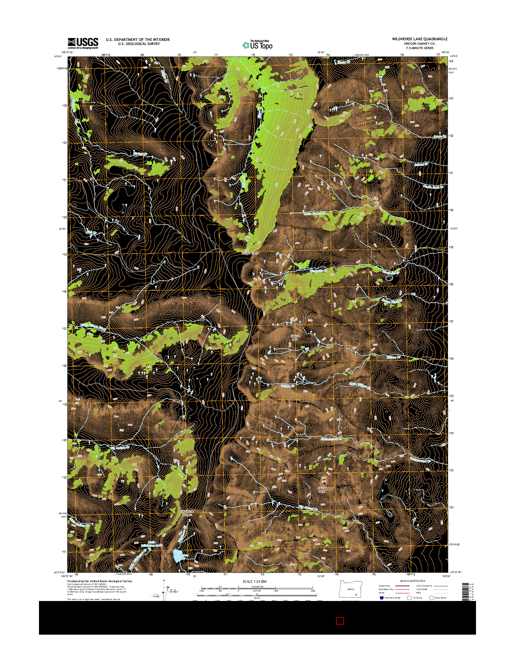 USGS US TOPO 7.5-MINUTE MAP FOR WILDHORSE LAKE, OR 2014