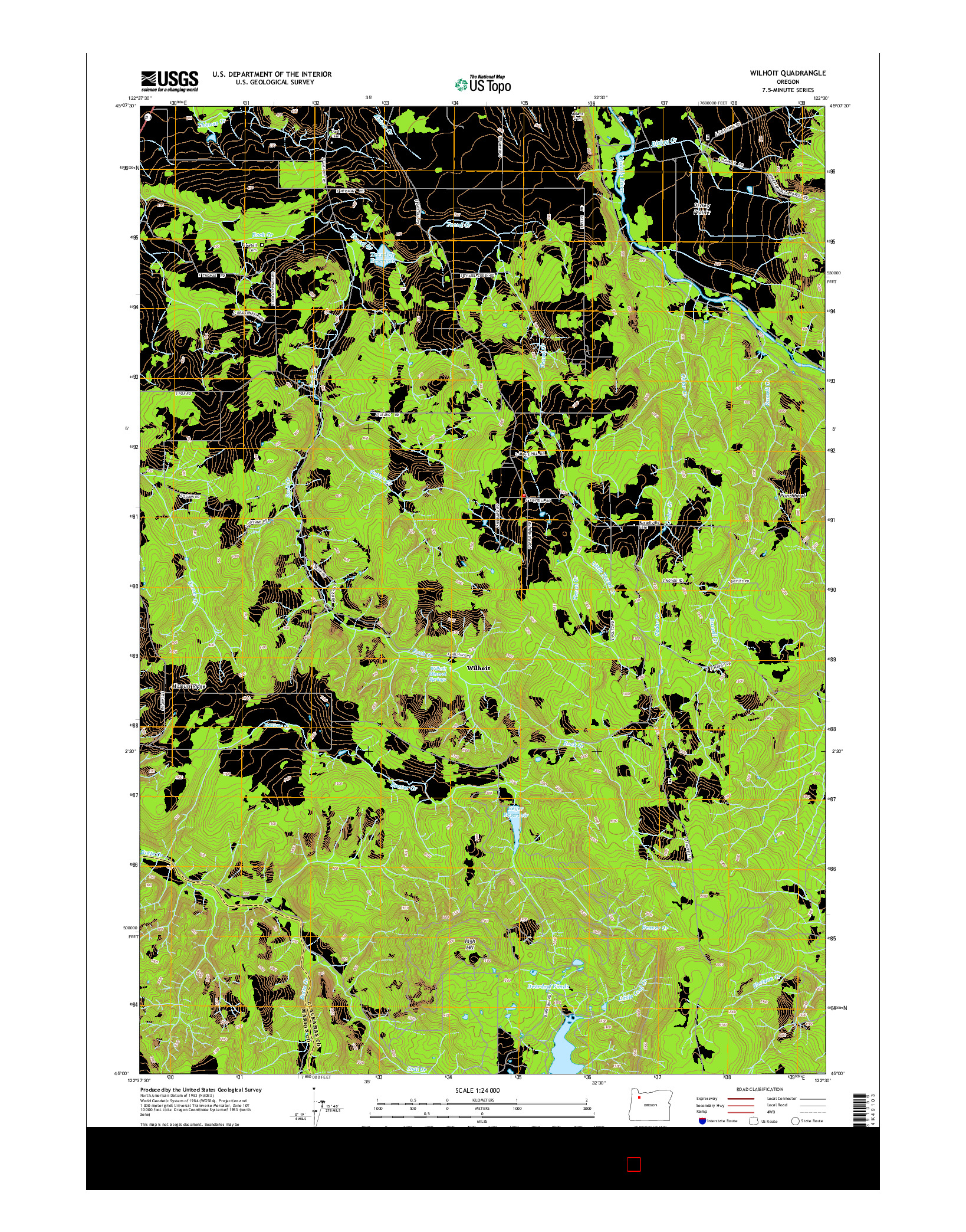 USGS US TOPO 7.5-MINUTE MAP FOR WILHOIT, OR 2014
