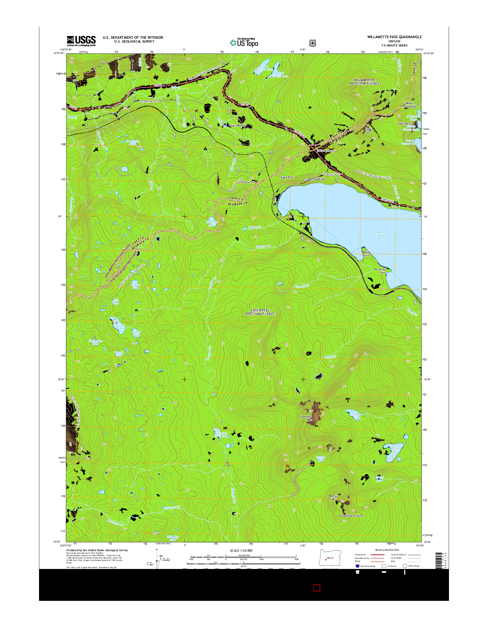 USGS US TOPO 7.5-MINUTE MAP FOR WILLAMETTE PASS, OR 2014