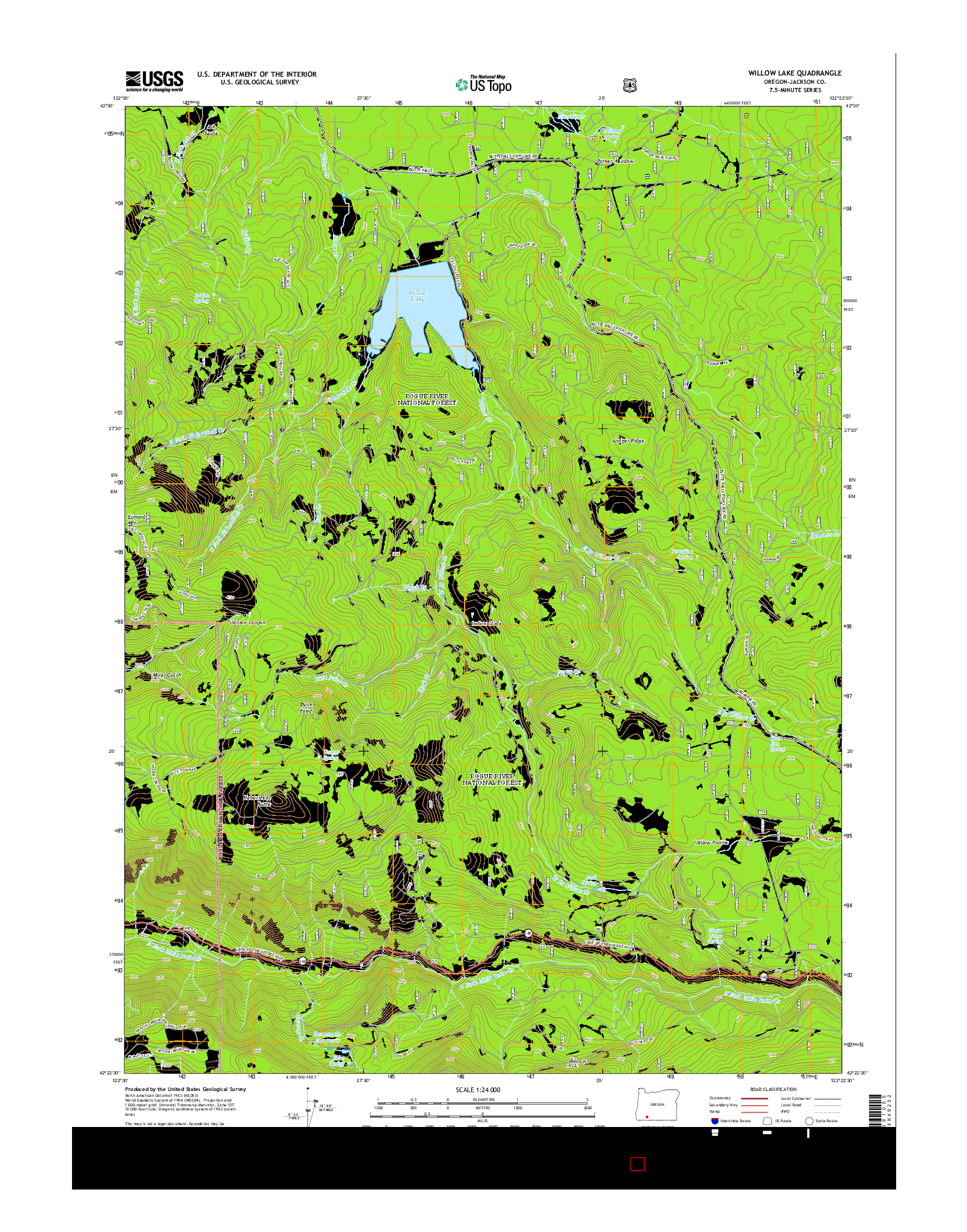 USGS US TOPO 7.5-MINUTE MAP FOR WILLOW LAKE, OR 2014