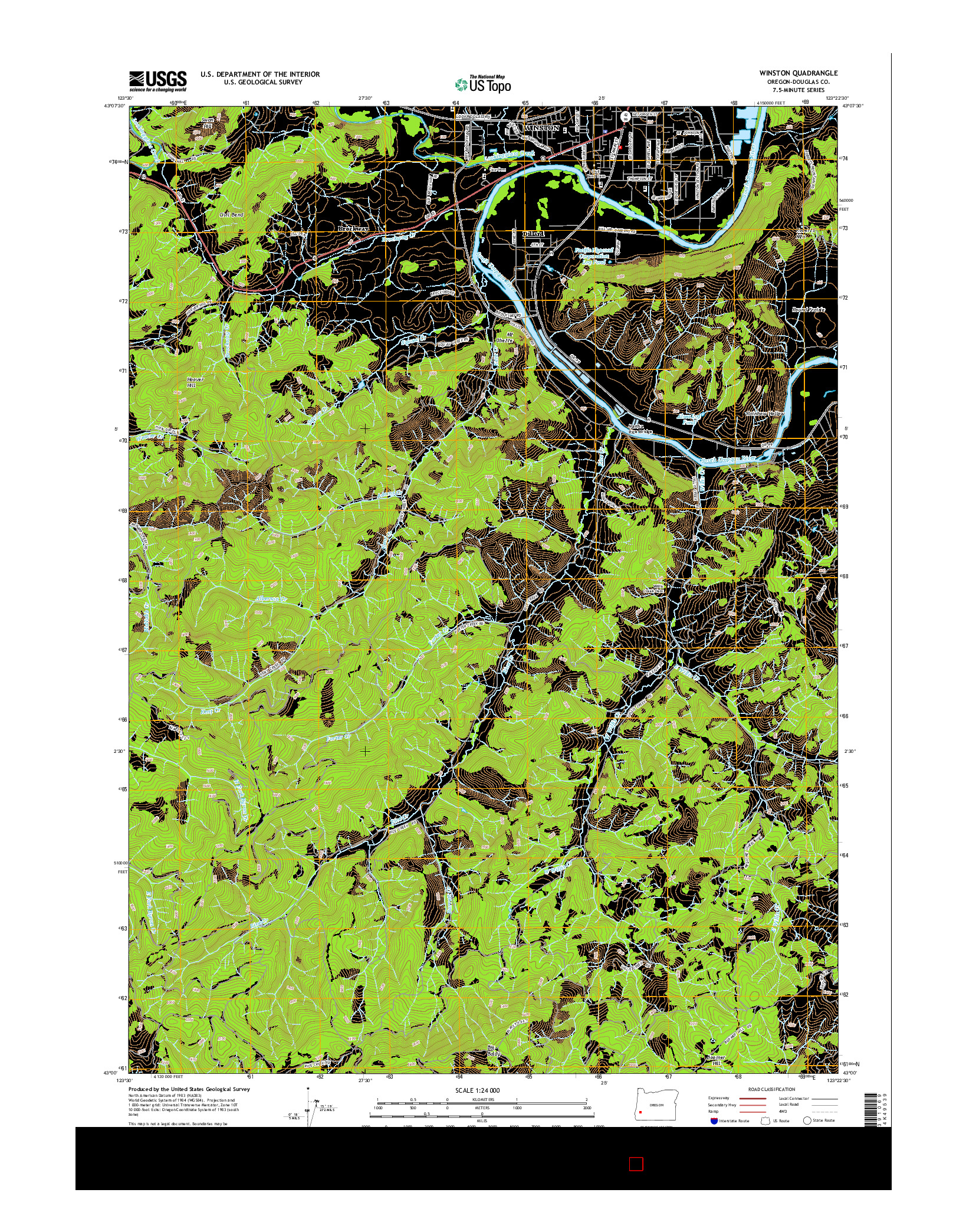 USGS US TOPO 7.5-MINUTE MAP FOR WINSTON, OR 2014