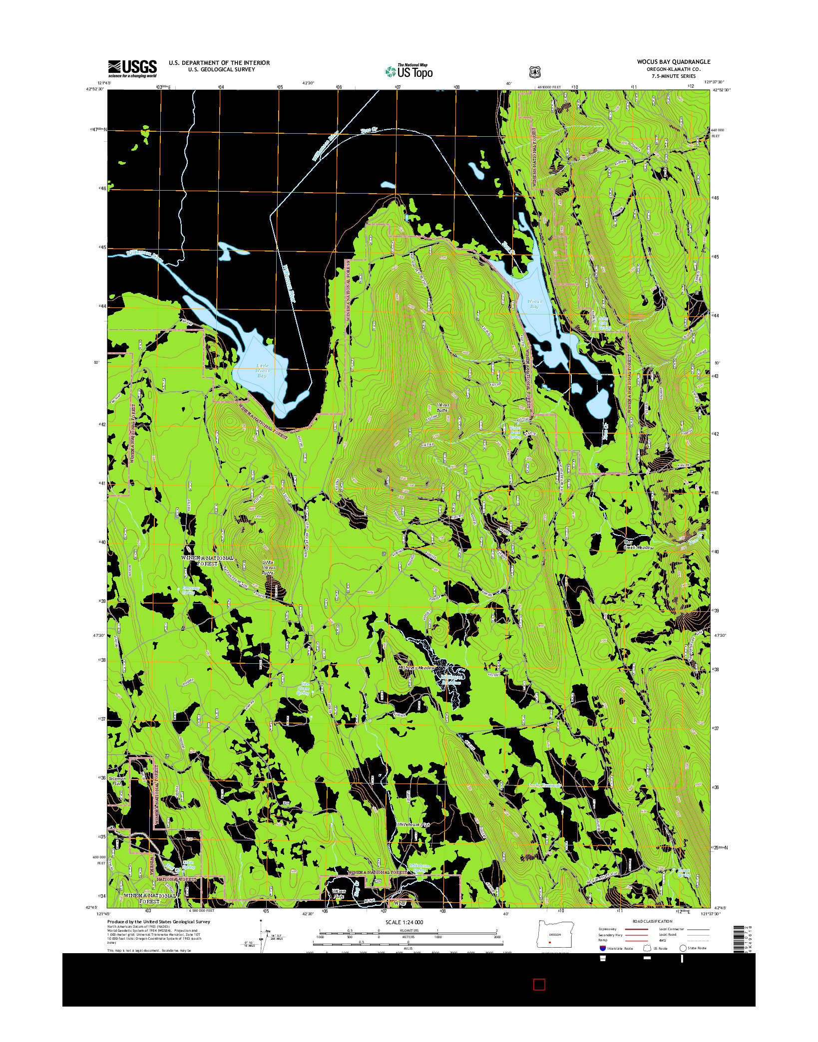 USGS US TOPO 7.5-MINUTE MAP FOR WOCUS BAY, OR 2014