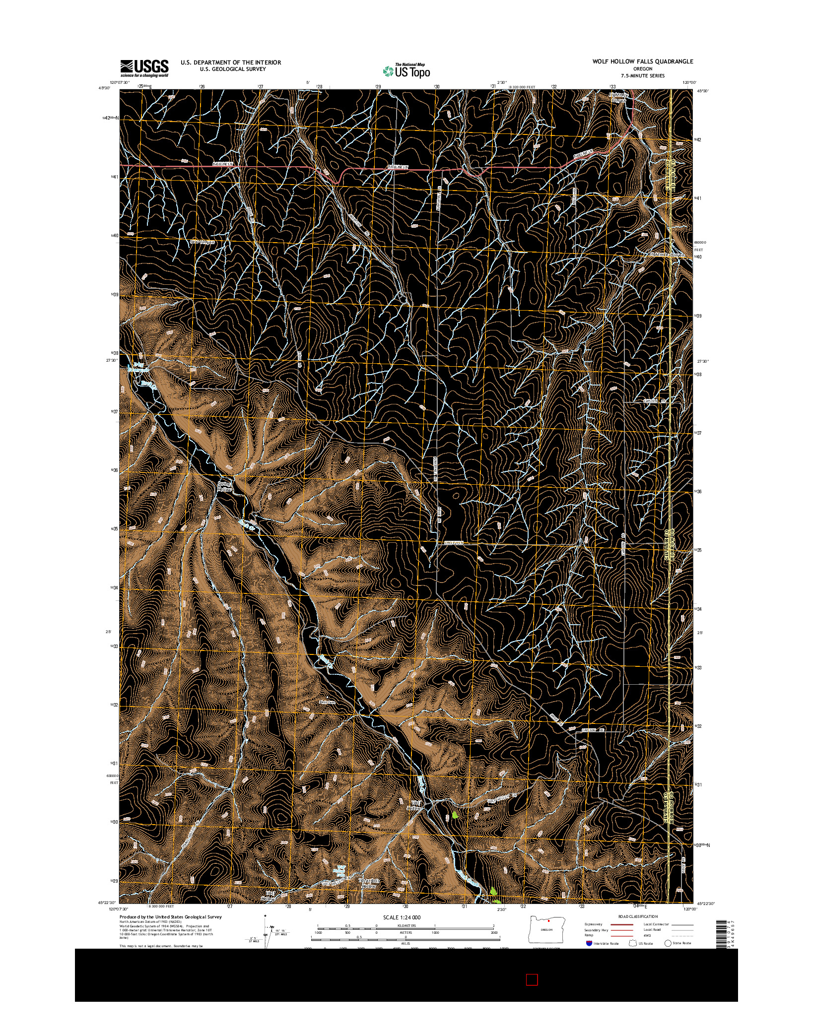 USGS US TOPO 7.5-MINUTE MAP FOR WOLF HOLLOW FALLS, OR 2014