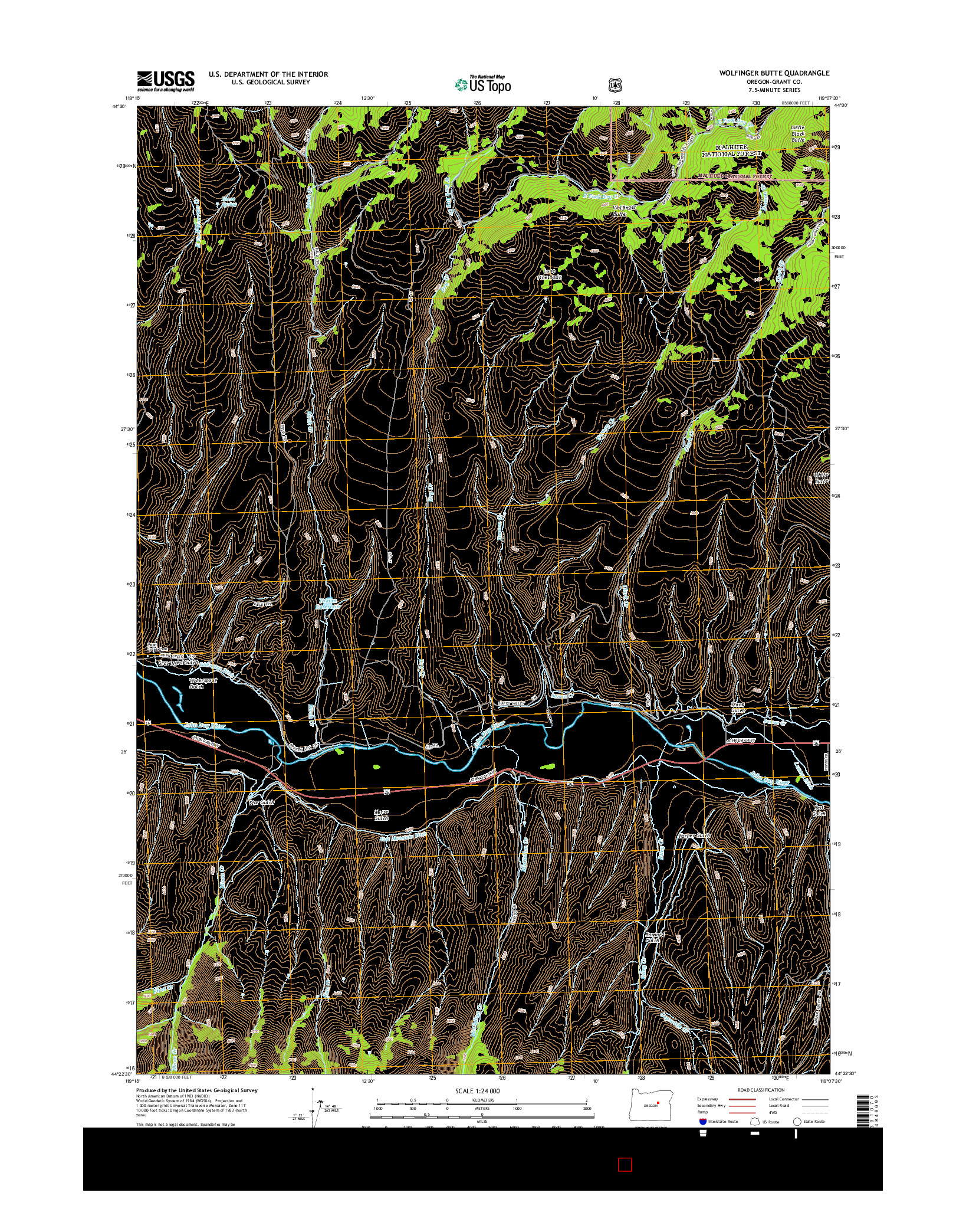 USGS US TOPO 7.5-MINUTE MAP FOR WOLFINGER BUTTE, OR 2014