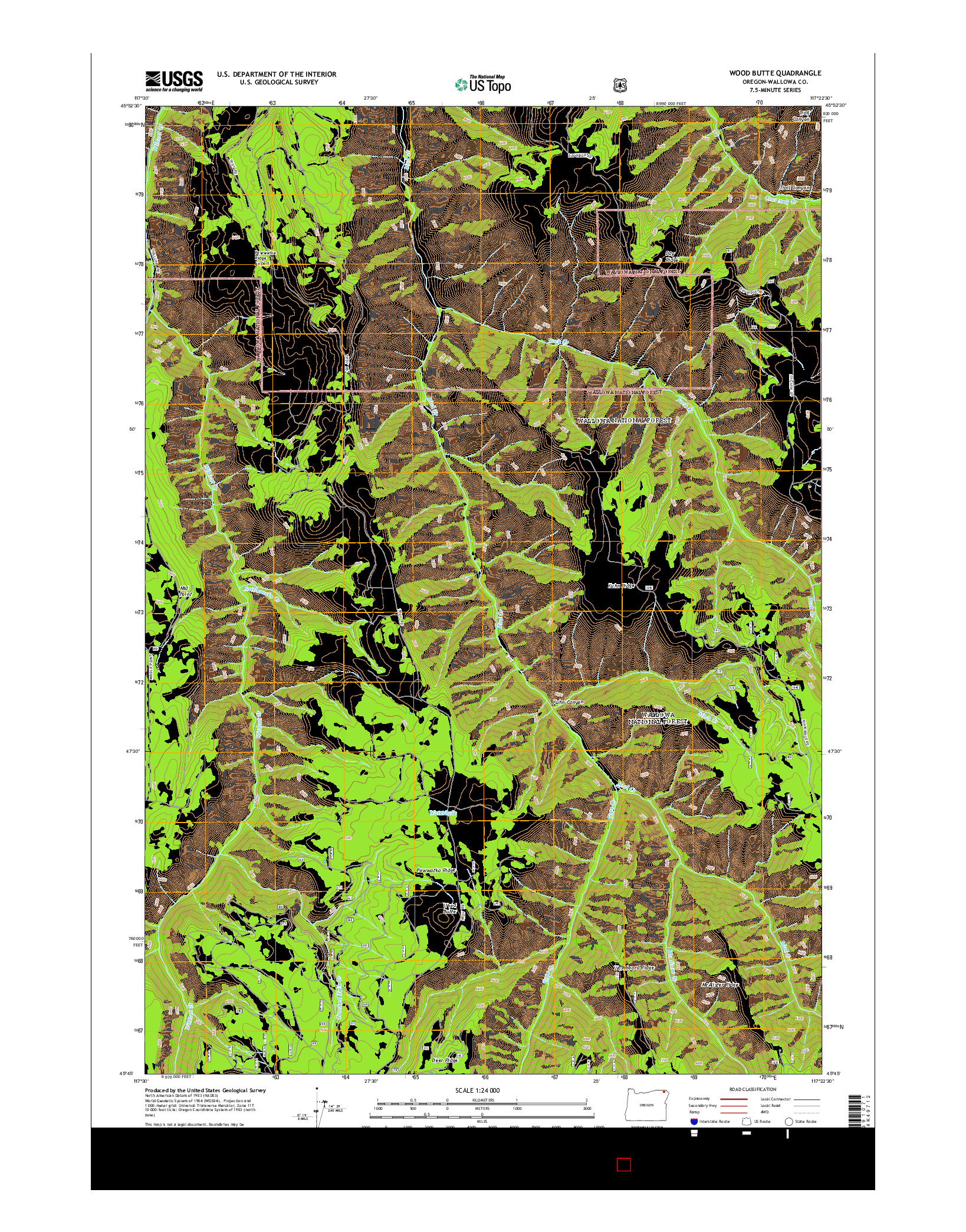USGS US TOPO 7.5-MINUTE MAP FOR WOOD BUTTE, OR 2014