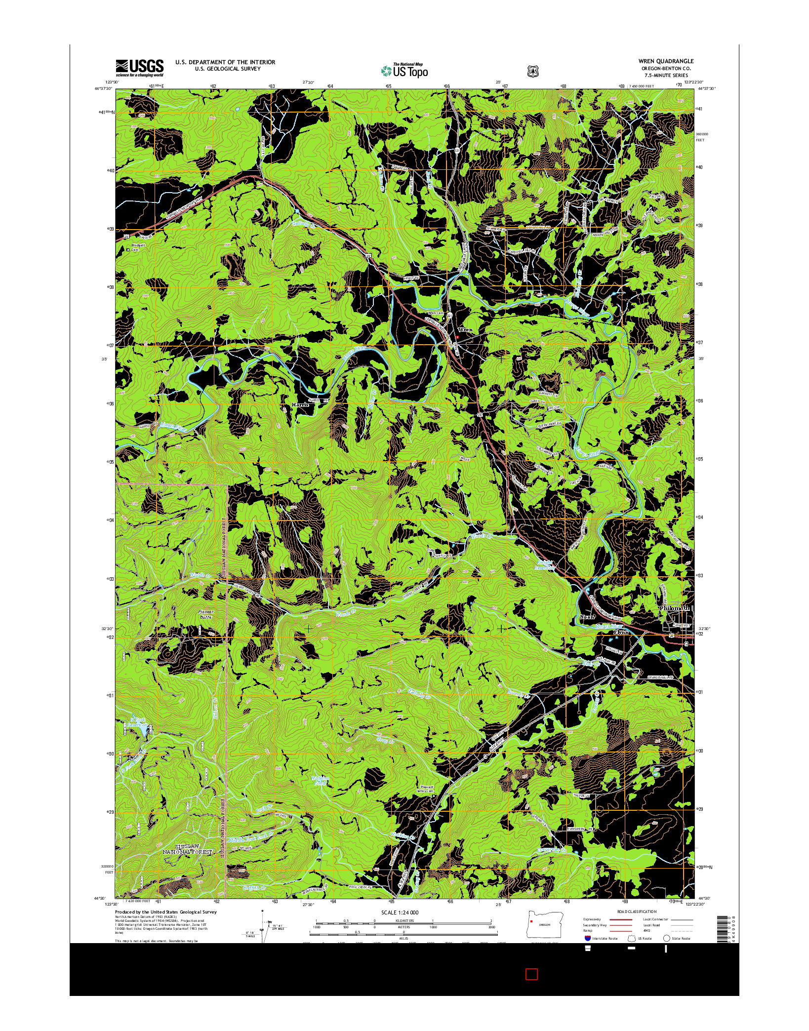 USGS US TOPO 7.5-MINUTE MAP FOR WREN, OR 2014