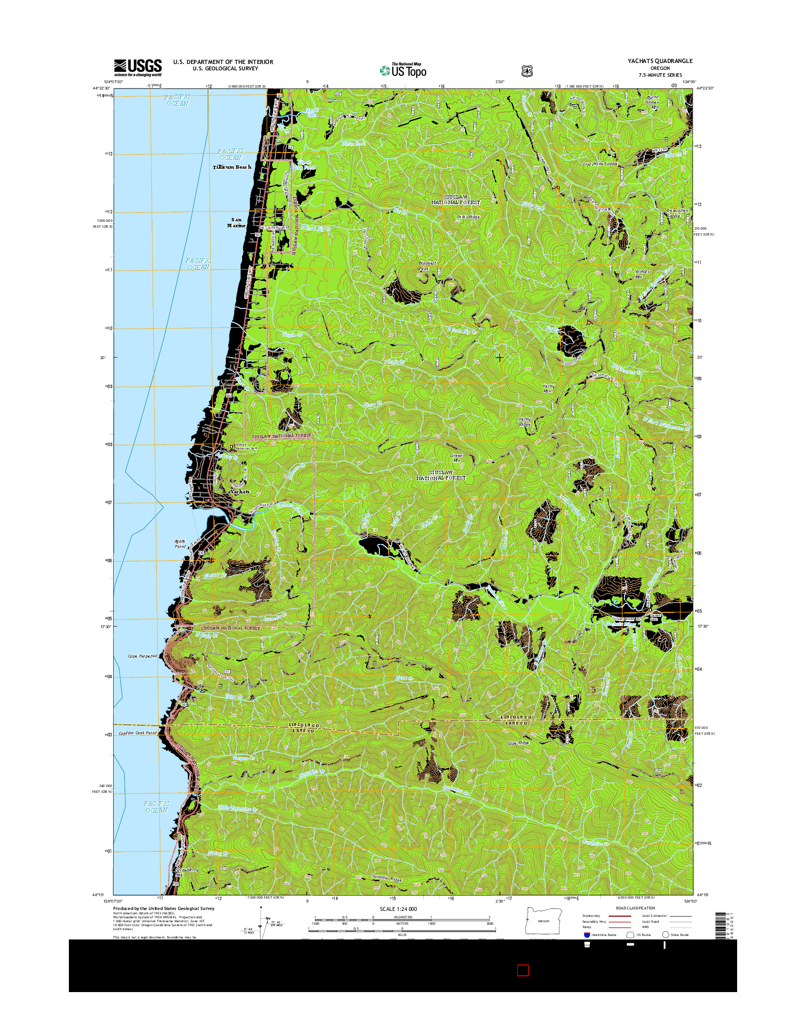 USGS US TOPO 7.5-MINUTE MAP FOR YACHATS, OR 2014