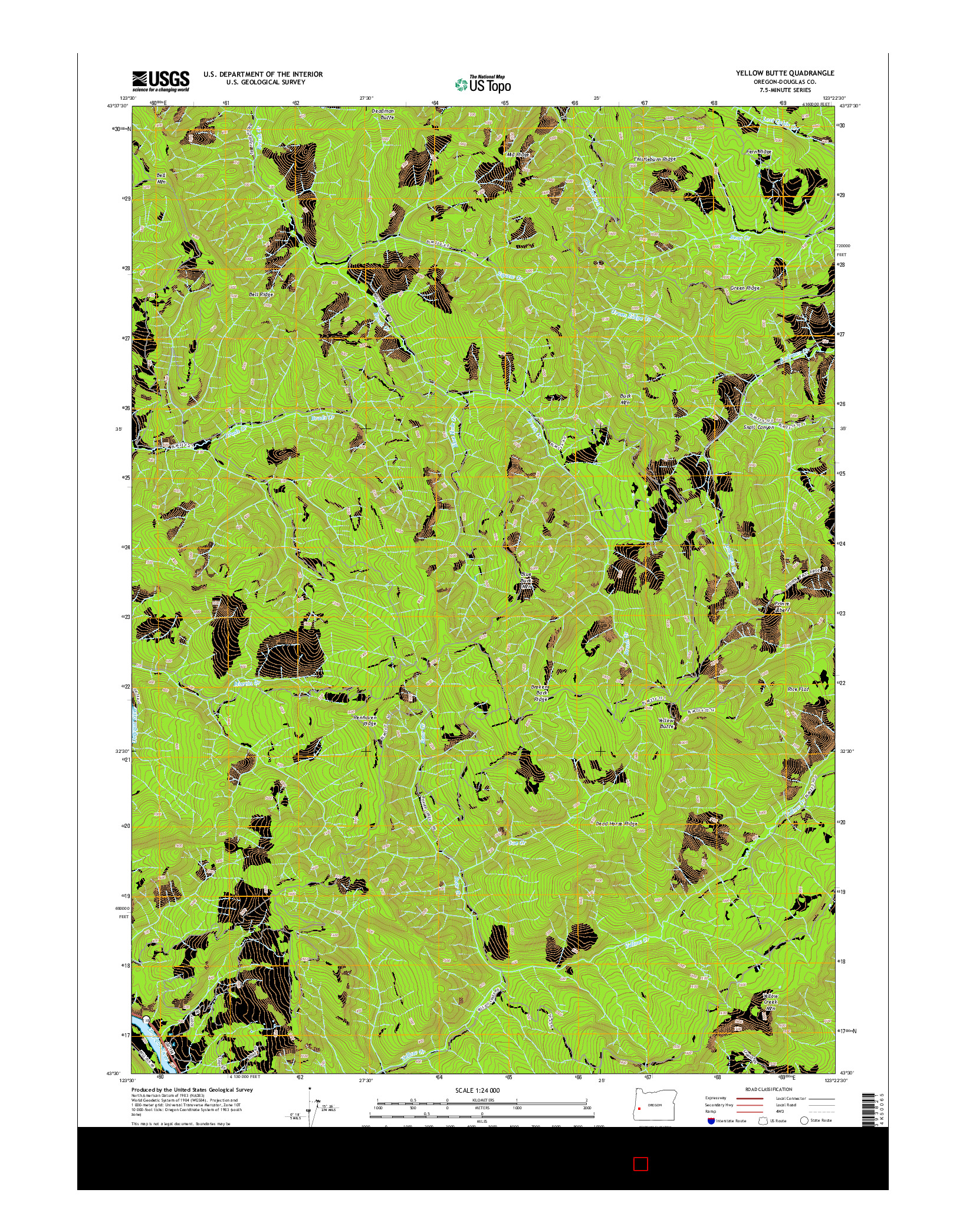 USGS US TOPO 7.5-MINUTE MAP FOR YELLOW BUTTE, OR 2014