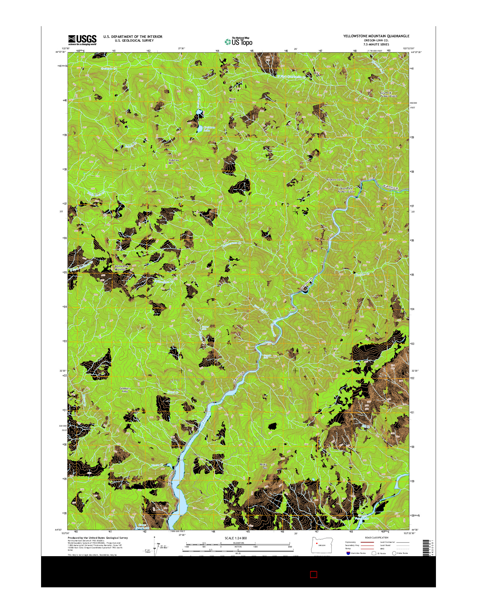 USGS US TOPO 7.5-MINUTE MAP FOR YELLOWSTONE MOUNTAIN, OR 2014