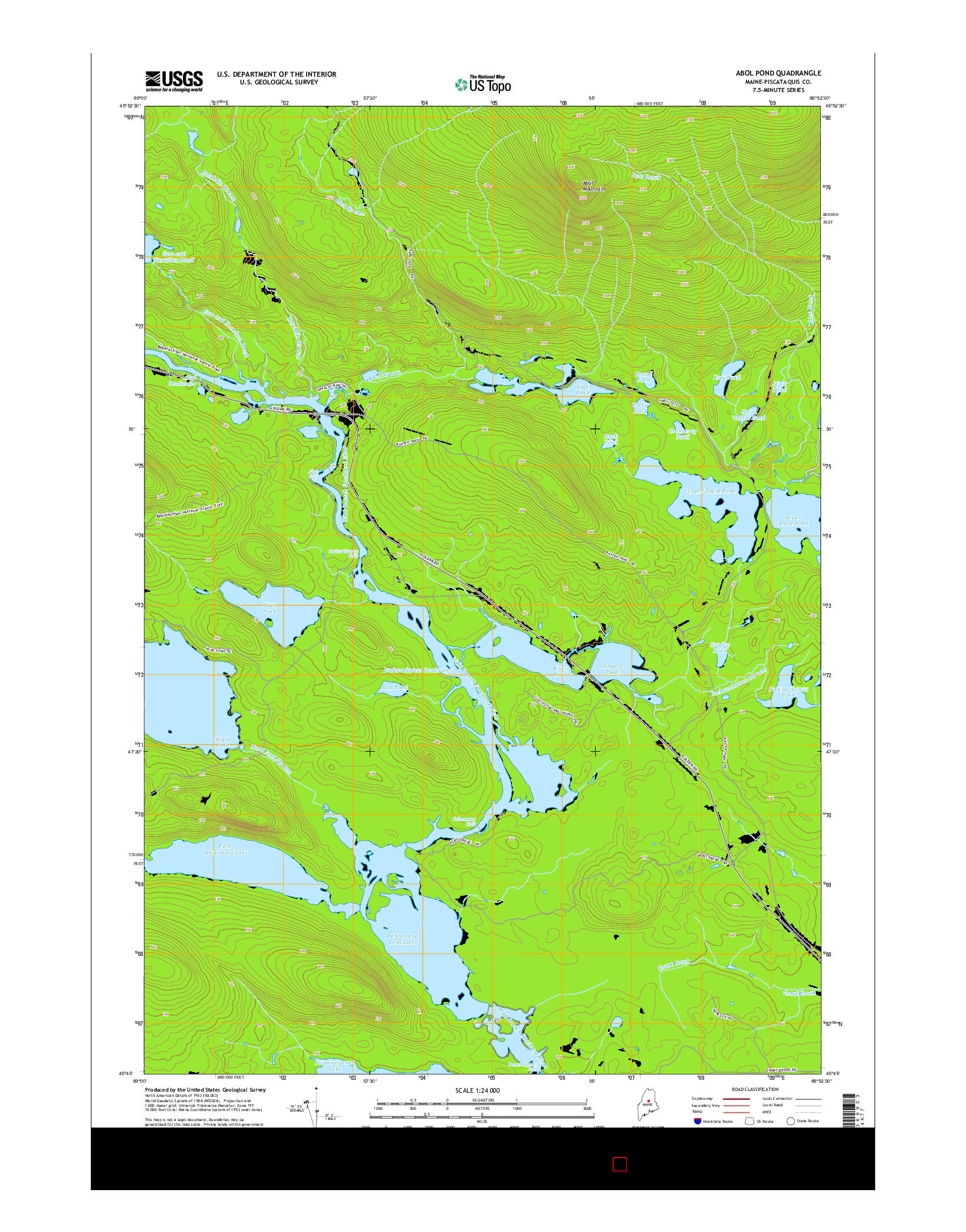 USGS US TOPO 7.5-MINUTE MAP FOR ABOL POND, ME 2014